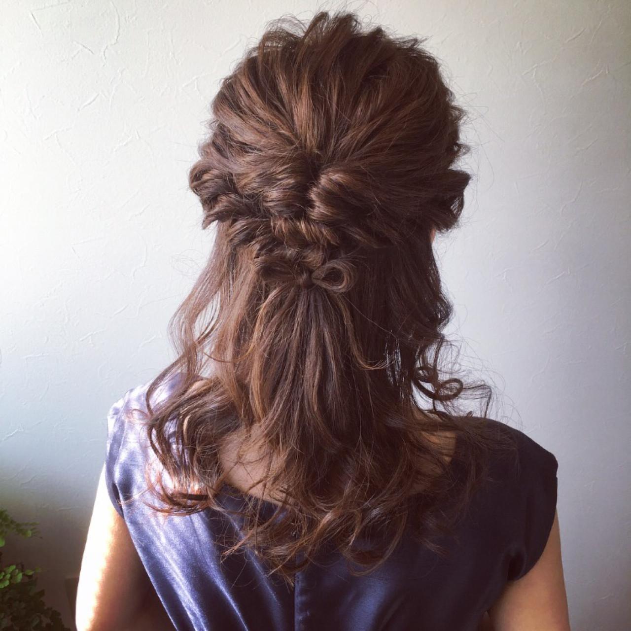 結婚式 ヘアセット 前髪なし ハーフアップ