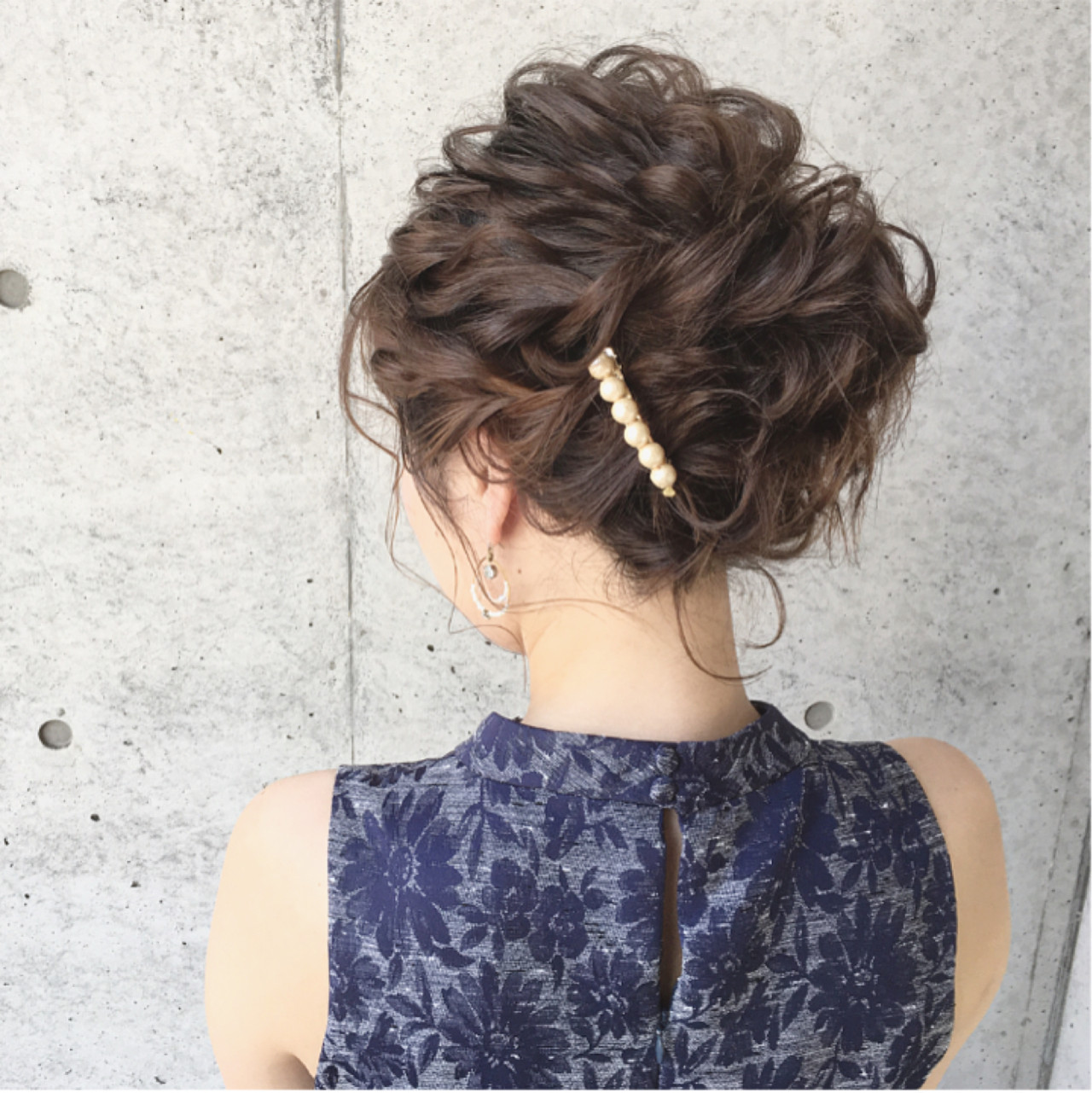 結婚式 ヘアセット セミロング 黒髪