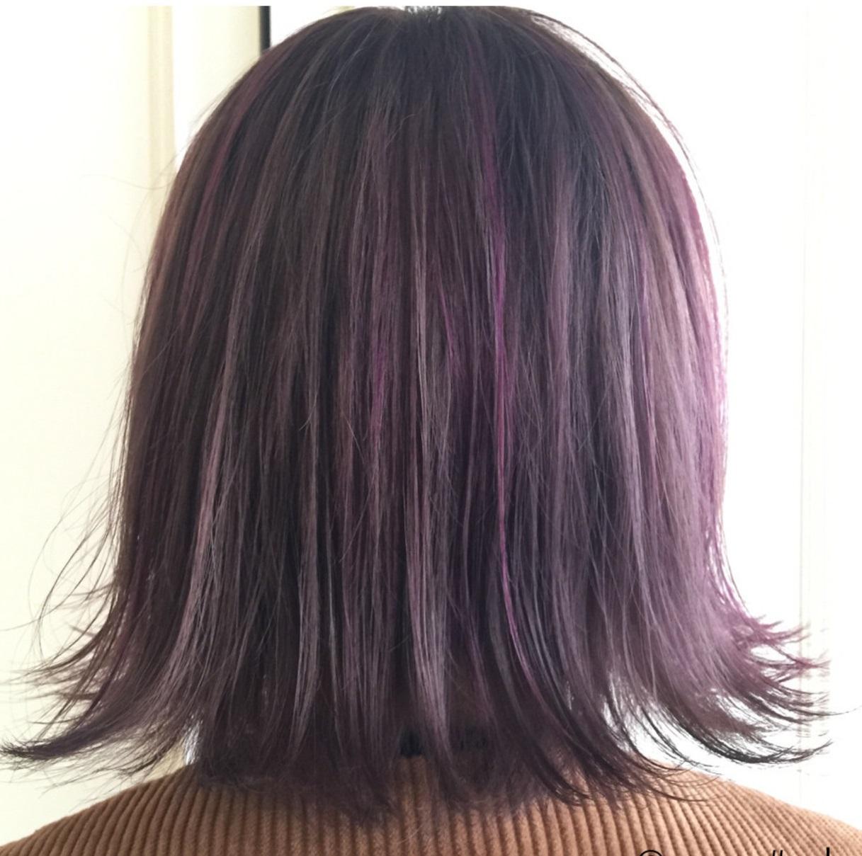 ラベンダーアッシュ&紫ヘアカラーに注目♡暗めなら色落ちもオシャレに
