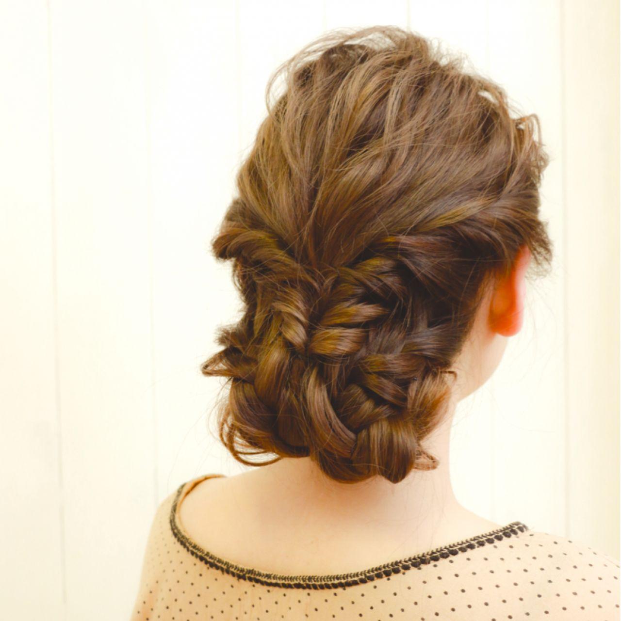 大人かわいい アップスタイル ナチュラル 編み込み ヘアスタイルや髪型の写真・画像