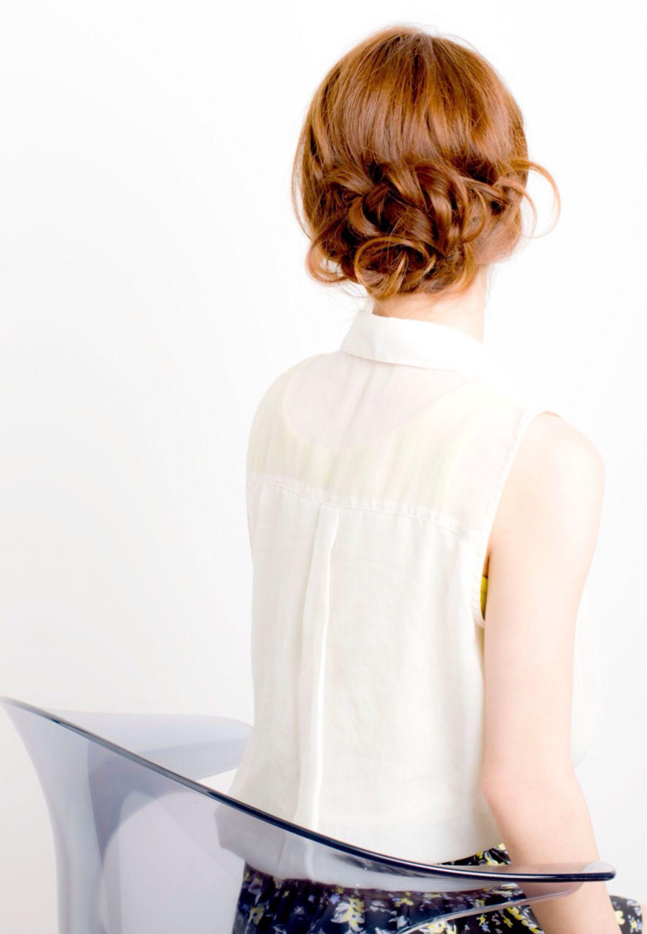 アップスタイル コンサバ 簡単 パーティ ヘアスタイルや髪型の写真・画像