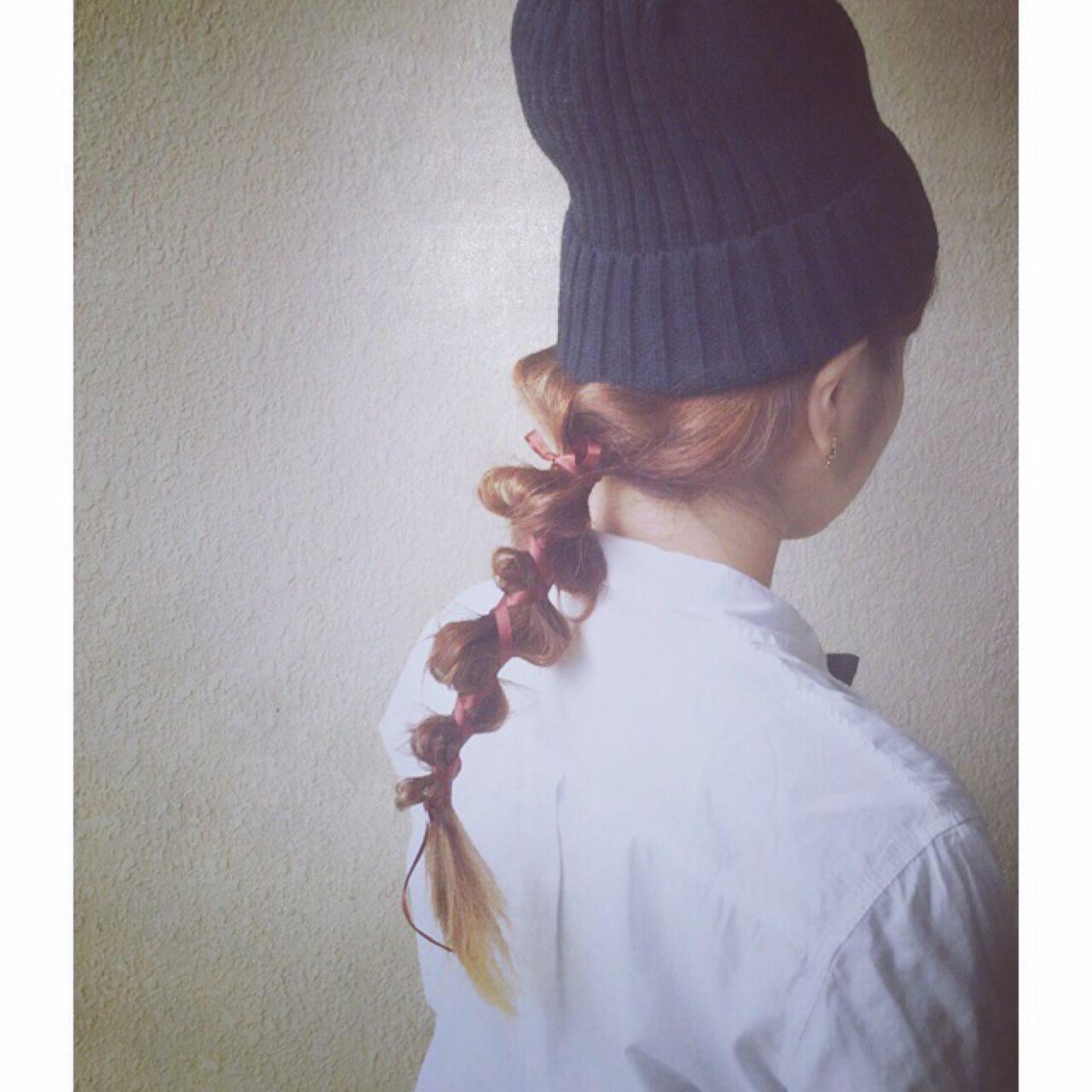 この冬必見!ニット帽、ベレー帽に合うヘアアレンジ  Naomi Taneda