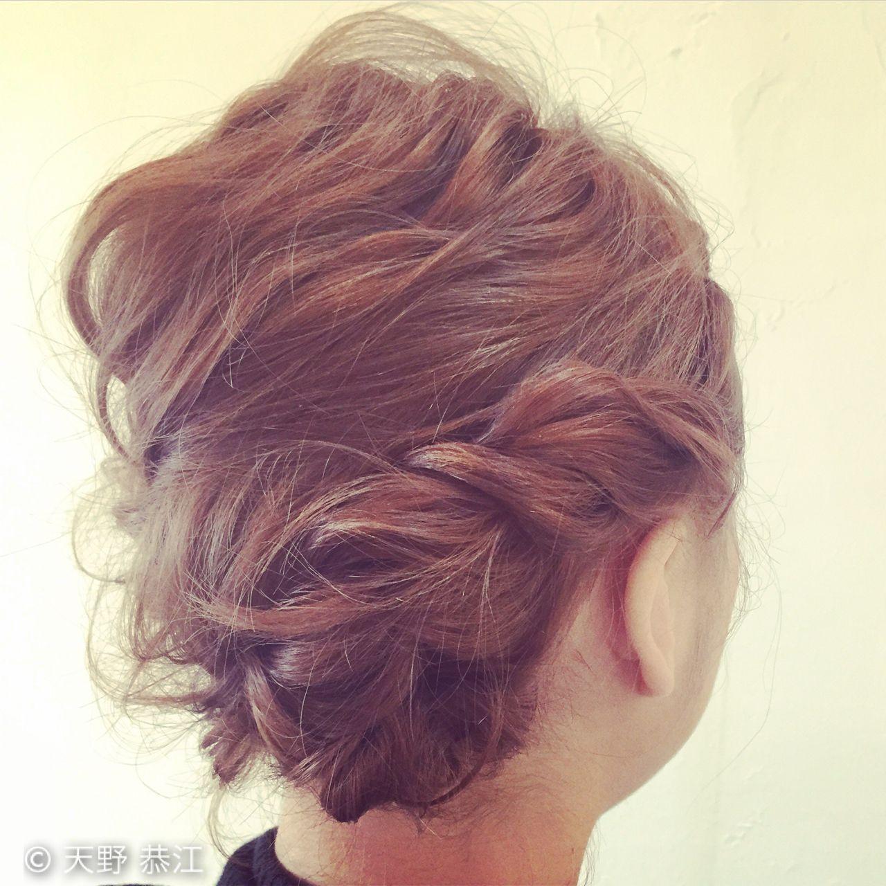 ショート ゆるふわ ヘアアレンジ フェミニン ヘアスタイルや髪型の写真・画像