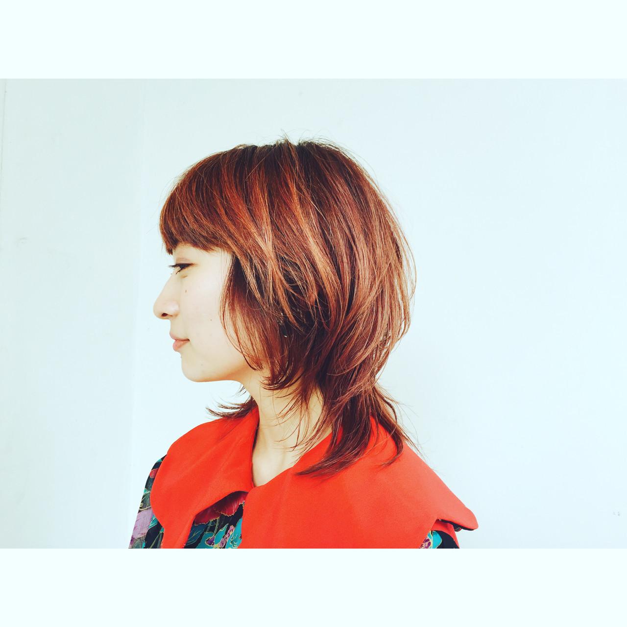 モード ミディアム マッシュ ウルフカット ヘアスタイルや髪型の写真・画像