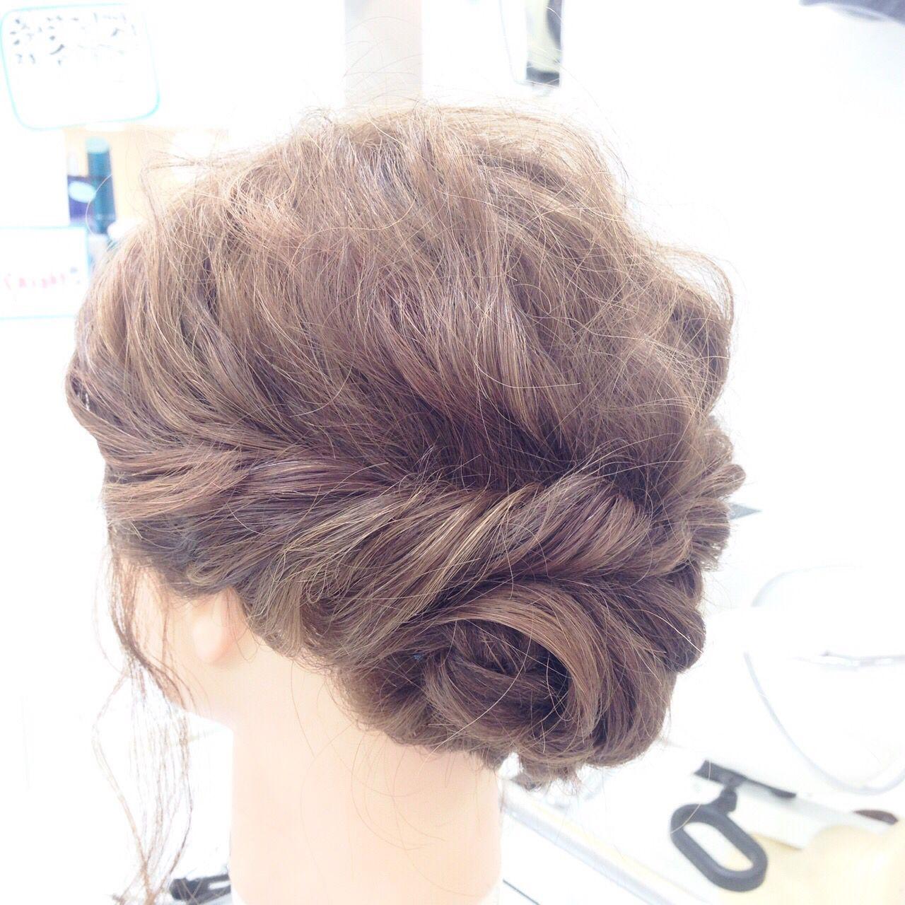 くるりんぱ 波ウェーブ 編み込み コンサバ ヘアスタイルや髪型の写真・画像