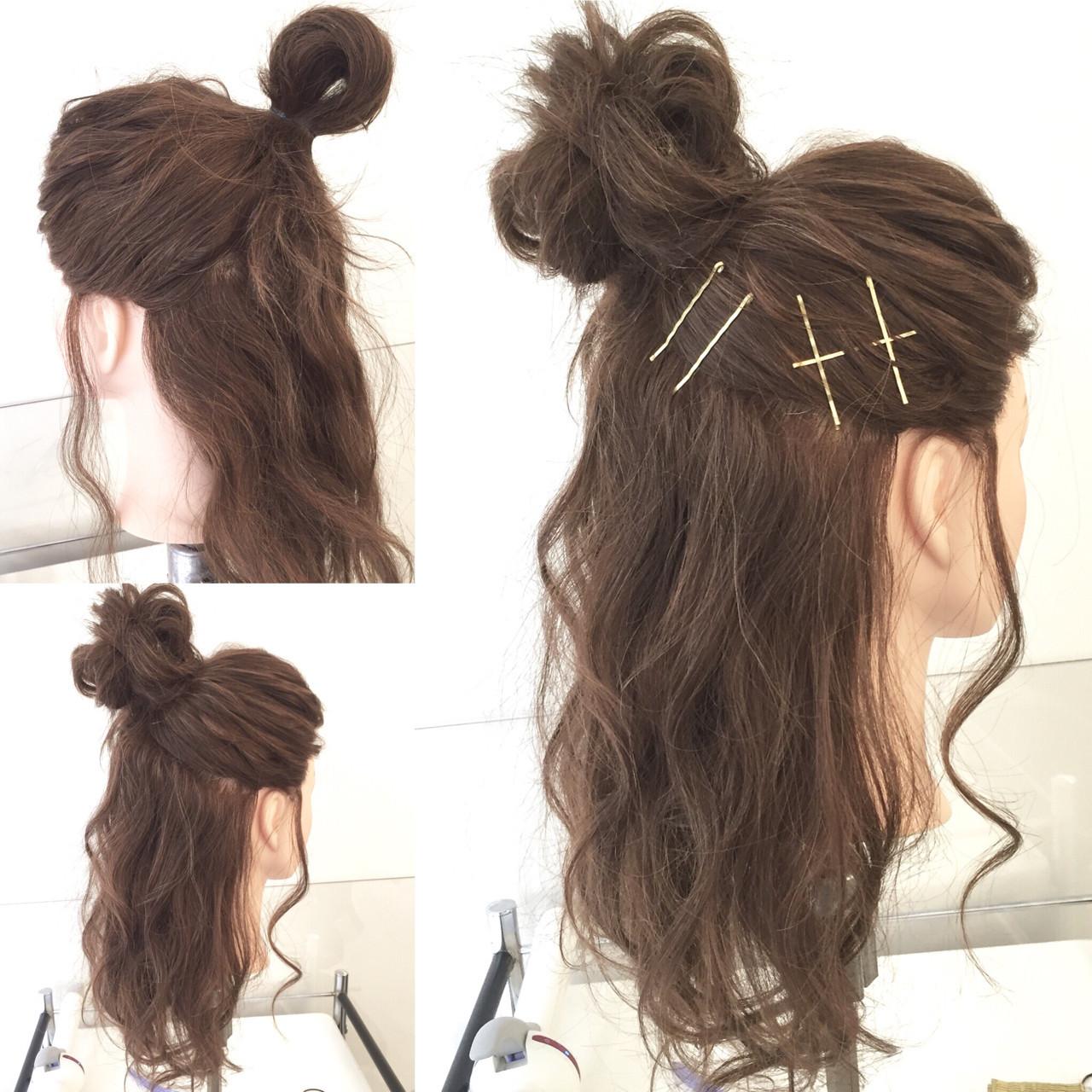 ヘアアレンジ お団子 ハーフアップ ゆるふわ ヘアスタイルや髪型の写真・画像