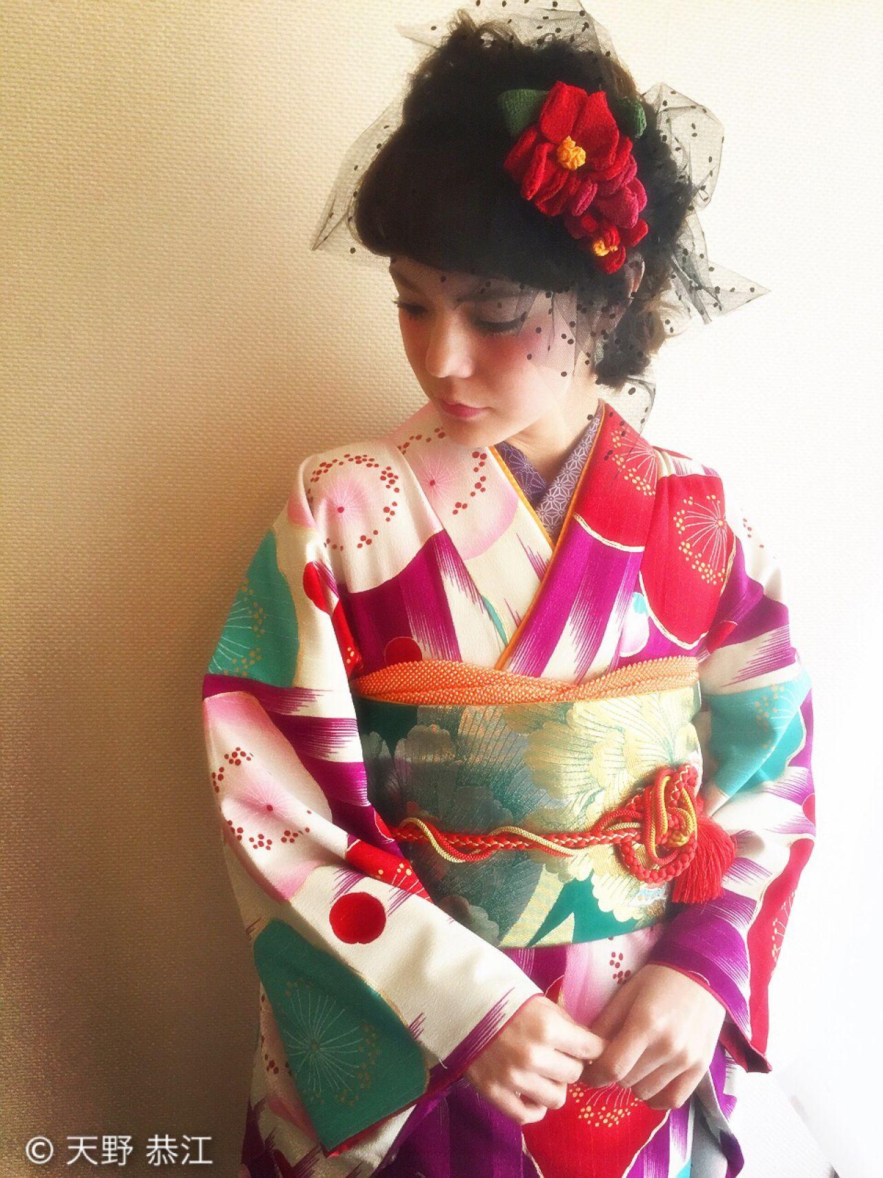 和装 成人式 ミディアム ヘアアレンジ ヘアスタイルや髪型の写真・画像