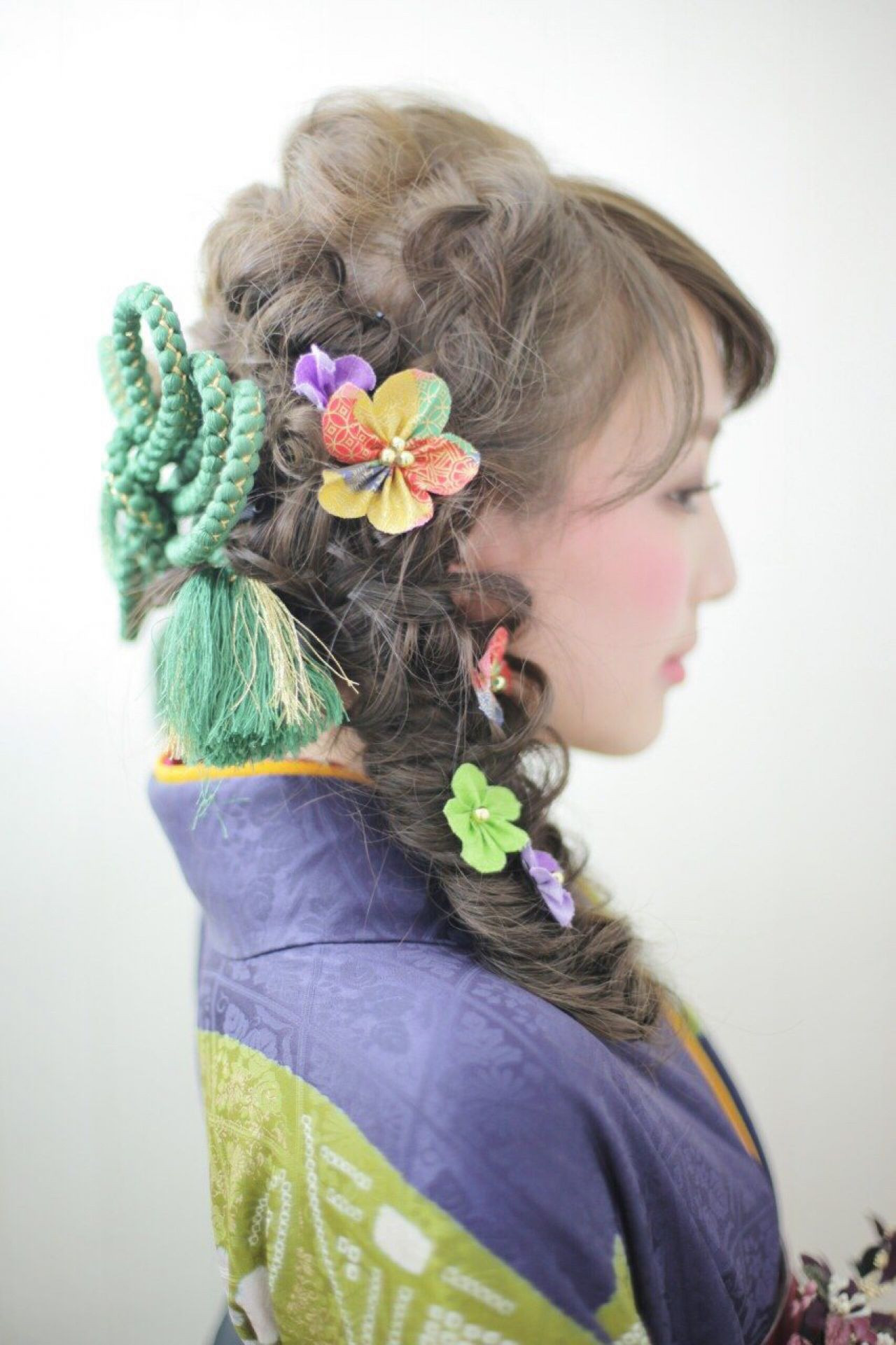着物 編み込み フィッシュボーン ヘアアレンジ ヘアスタイルや髪型の写真・画像