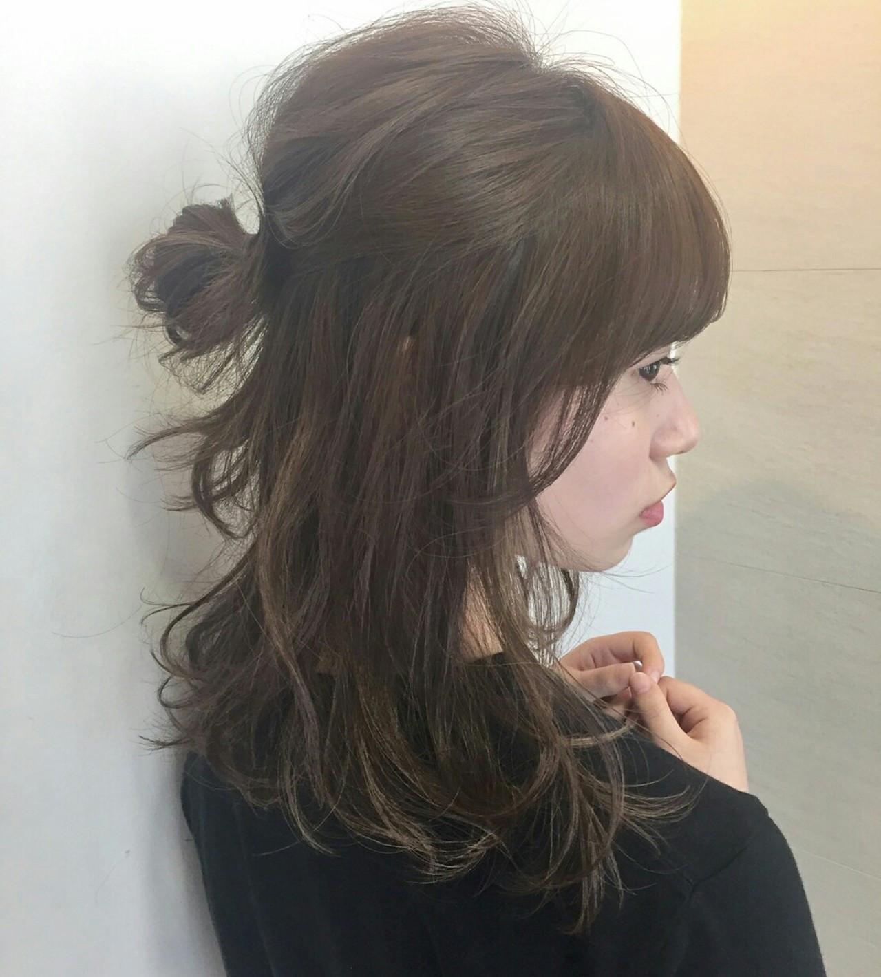 ナチュラル ハーフアップ ショート 簡単ヘアアレンジ ヘアスタイルや髪型の写真・画像