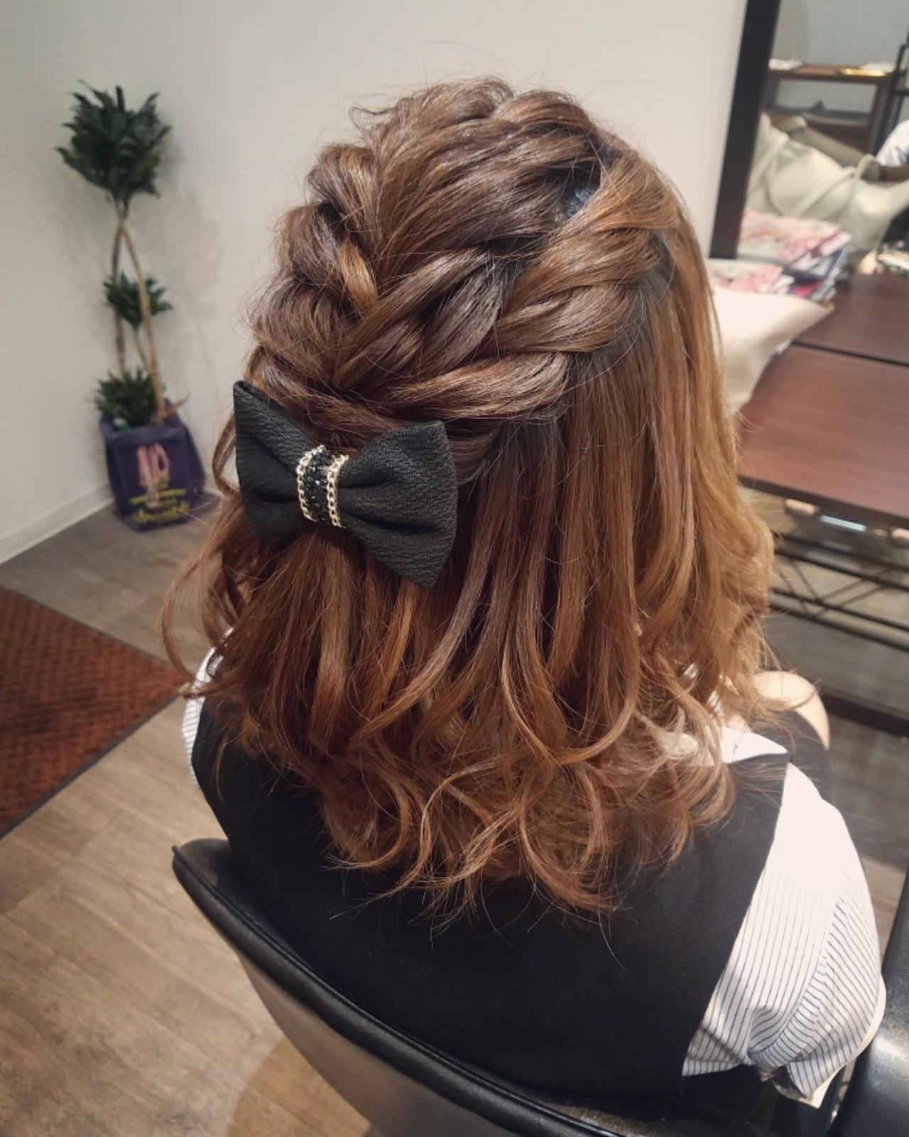 ミディアム ハーフアップ フェミニン ボブ ヘアスタイルや髪型の写真・画像