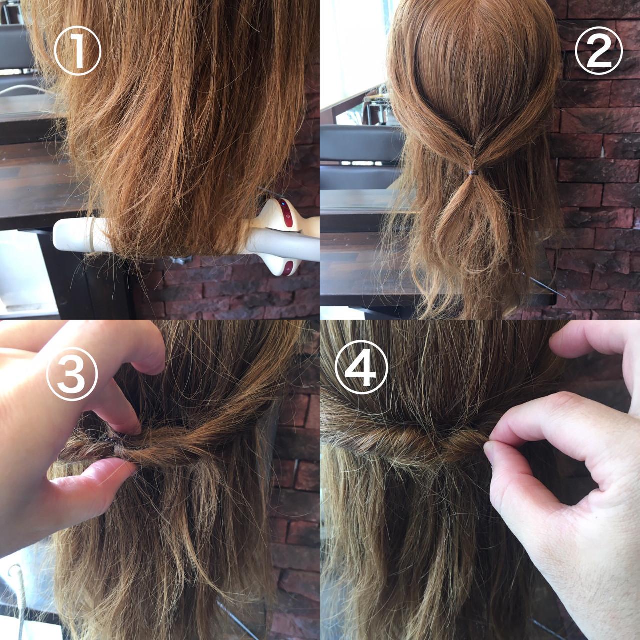 ハーフアップ セミロング ヘアアレンジ セルフヘアアレンジ ヘアスタイルや髪型の写真・画像