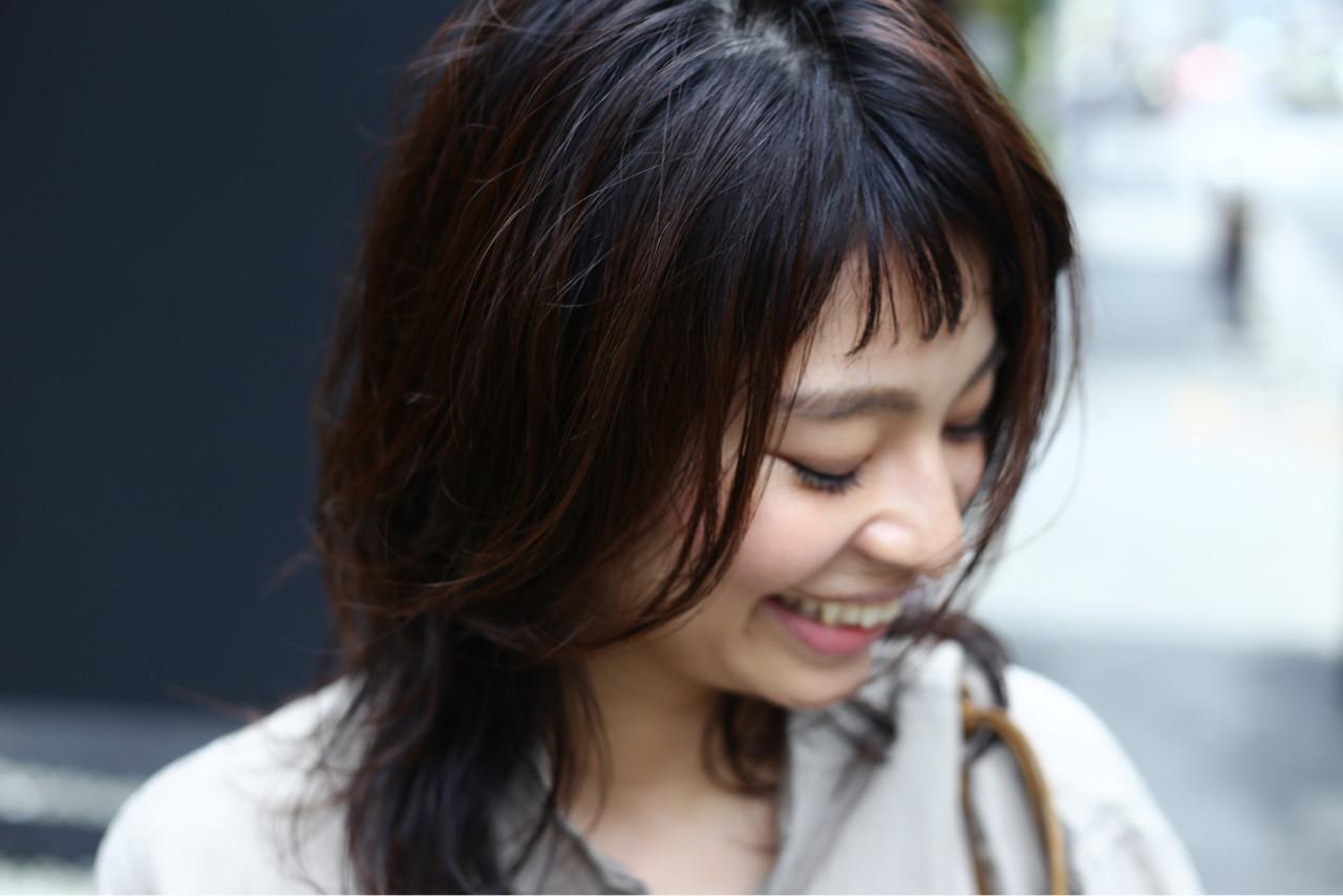 色気 ミディアム レイヤーカット ショート ヘアスタイルや髪型の写真・画像