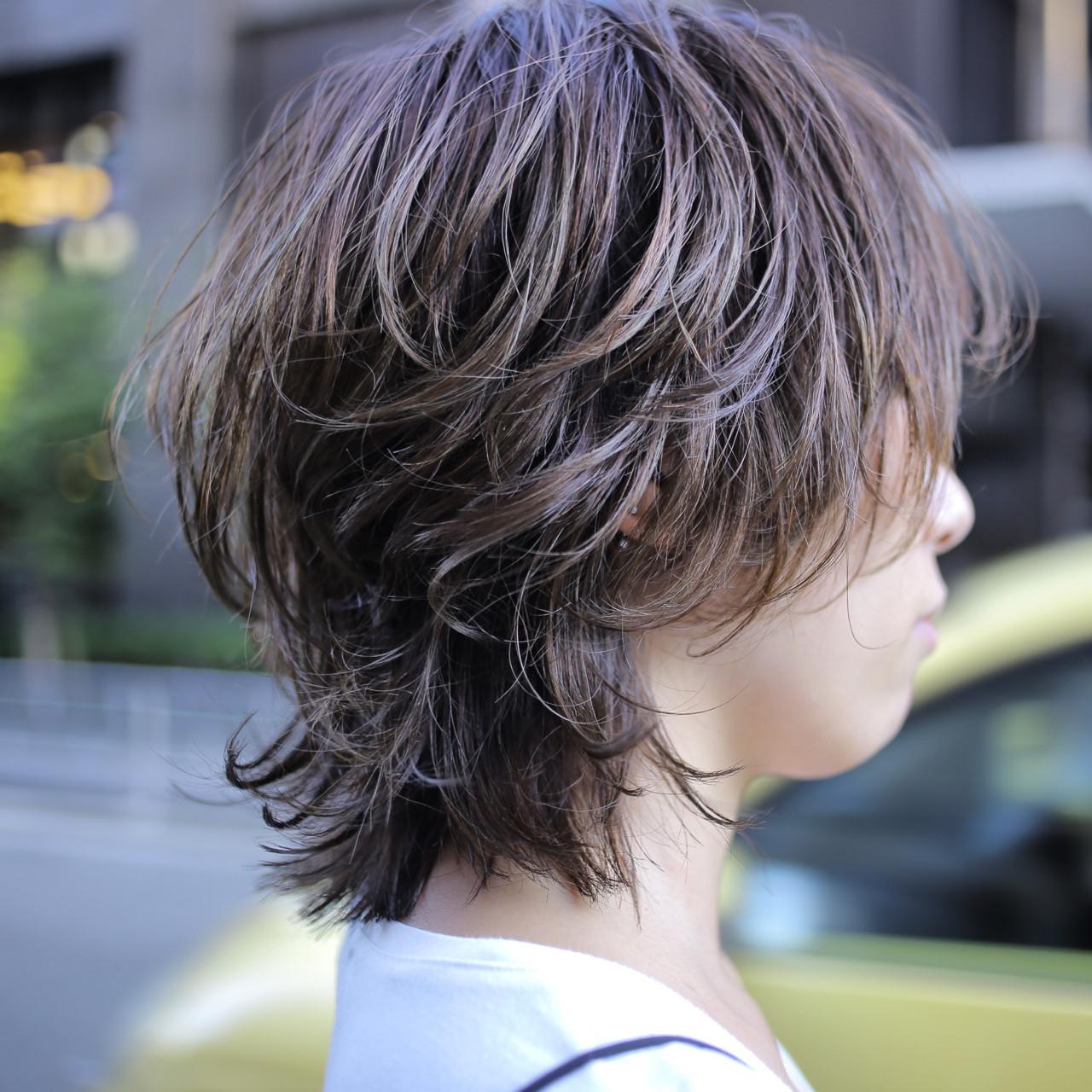 レイヤーカット ウルフカット 色気 ボブ ヘアスタイルや髪型の写真・画像