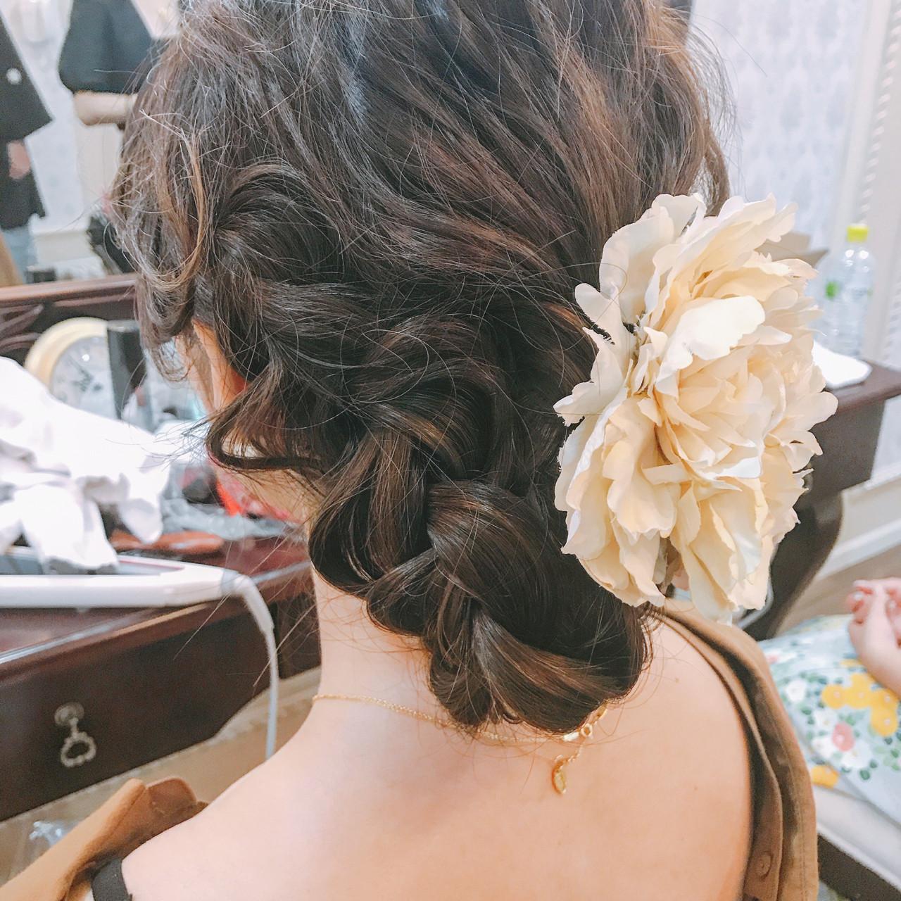 編み込み エレガント 結婚式 夏 ヘアスタイルや髪型の写真・画像