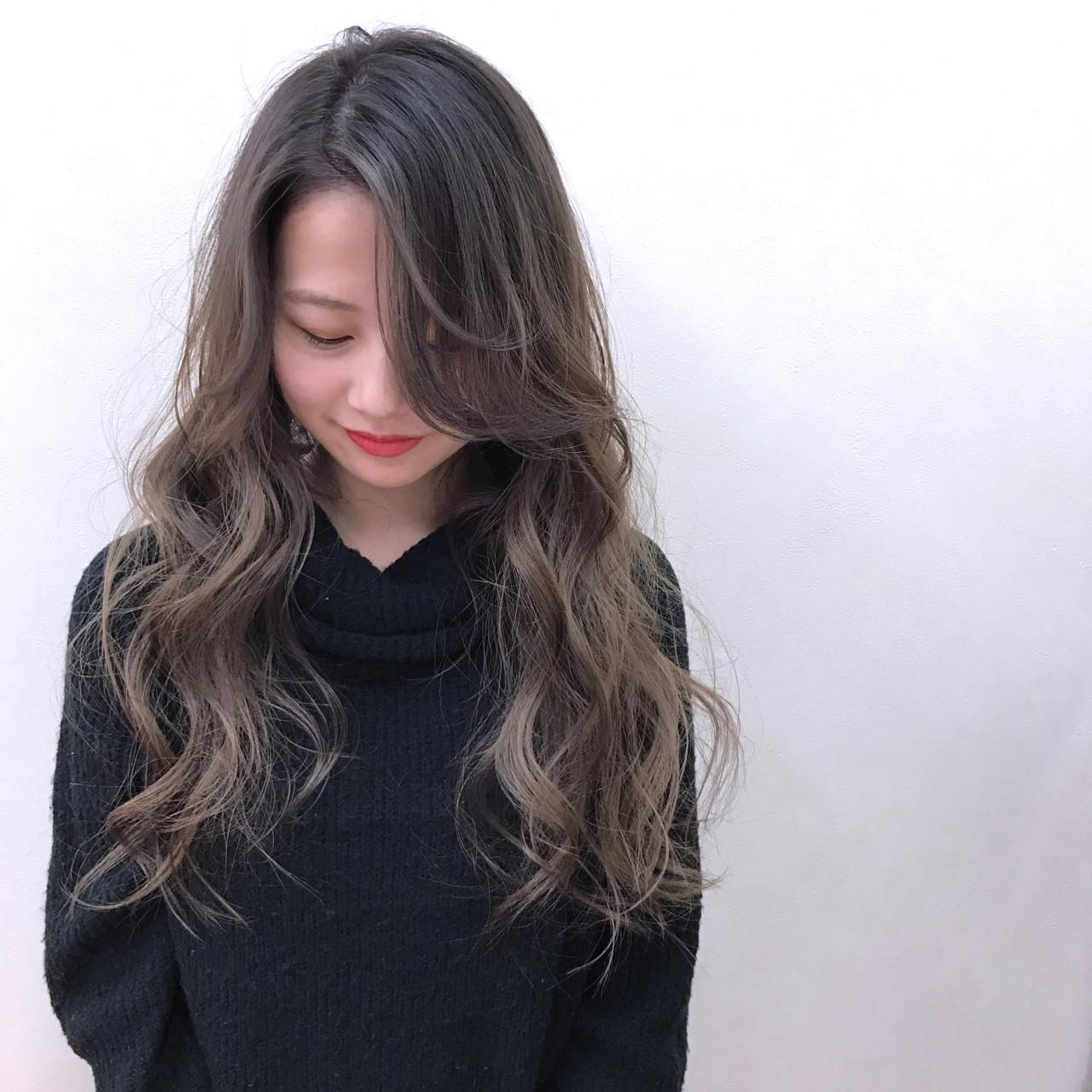 冬 ナチュラル グラデーションカラー ロング ヘアスタイルや髪型の写真・画像