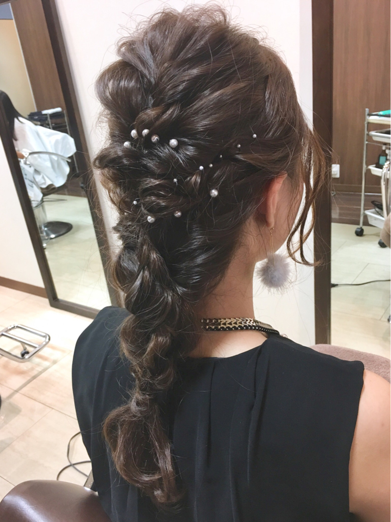 編み込み 結婚式 ヘアアレンジ パーティ ヘアスタイルや髪型の写真・画像