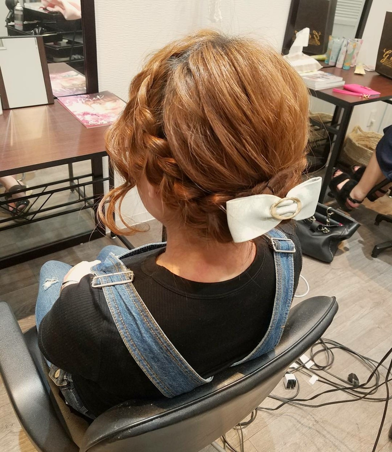 編み込み アップスタイル ボブ ヘアアレンジ ヘアスタイルや髪型の写真・画像