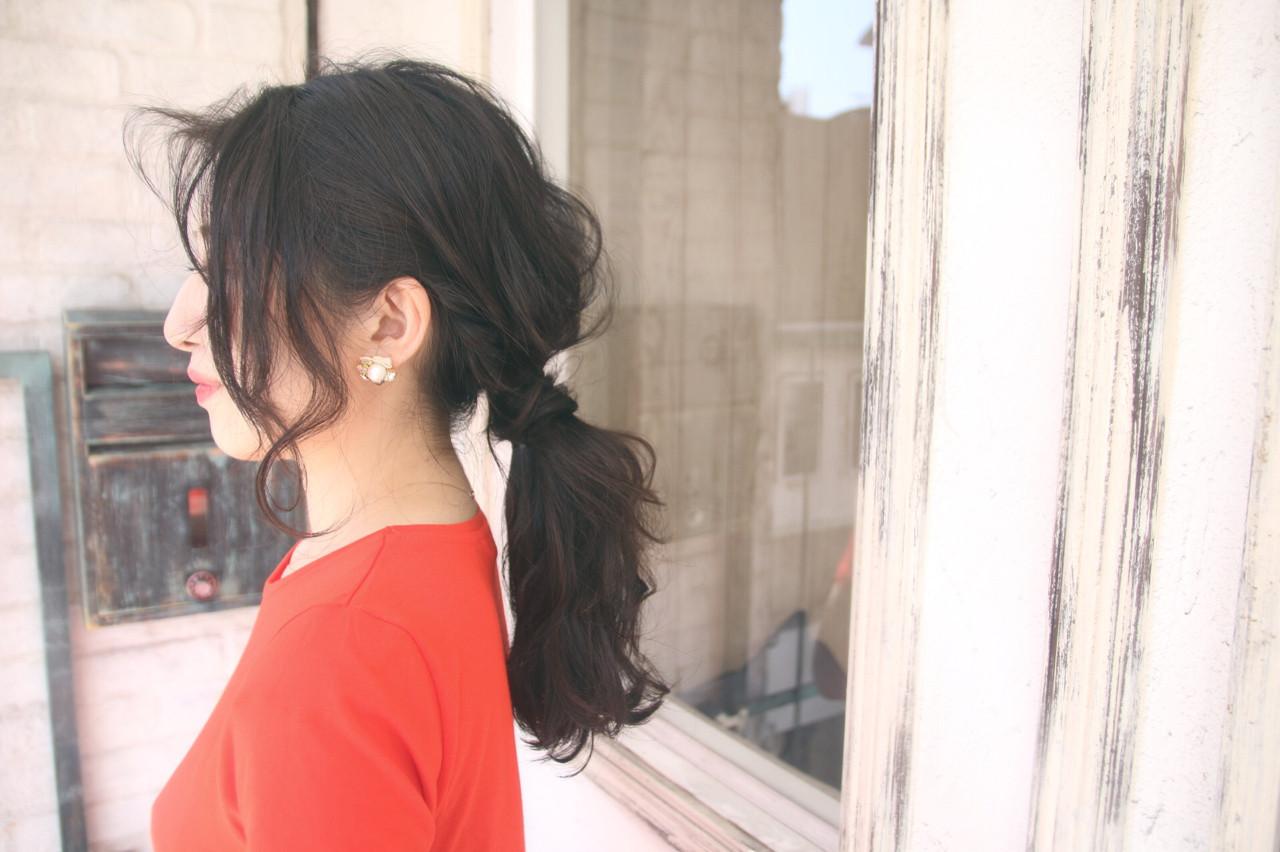 上品 女子会 黒髪 かき上げ前髪 ヘアスタイルや髪型の写真・画像
