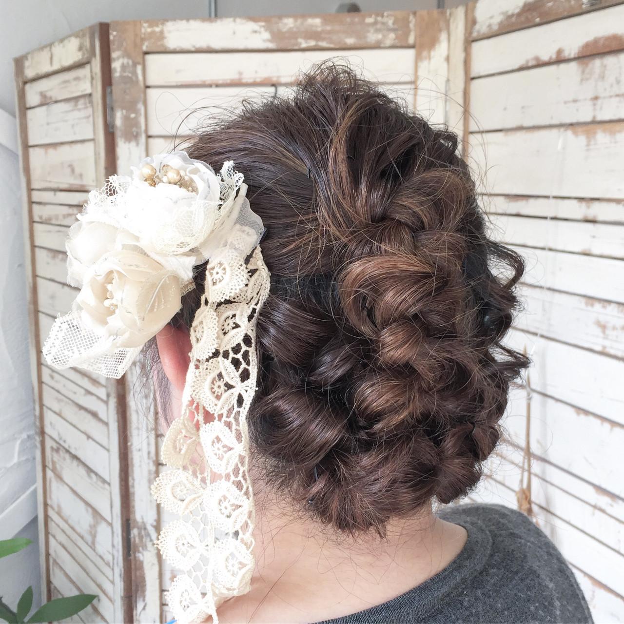 デート 編み込み くるりんぱ ヘアアレンジ ヘアスタイルや髪型の写真・画像