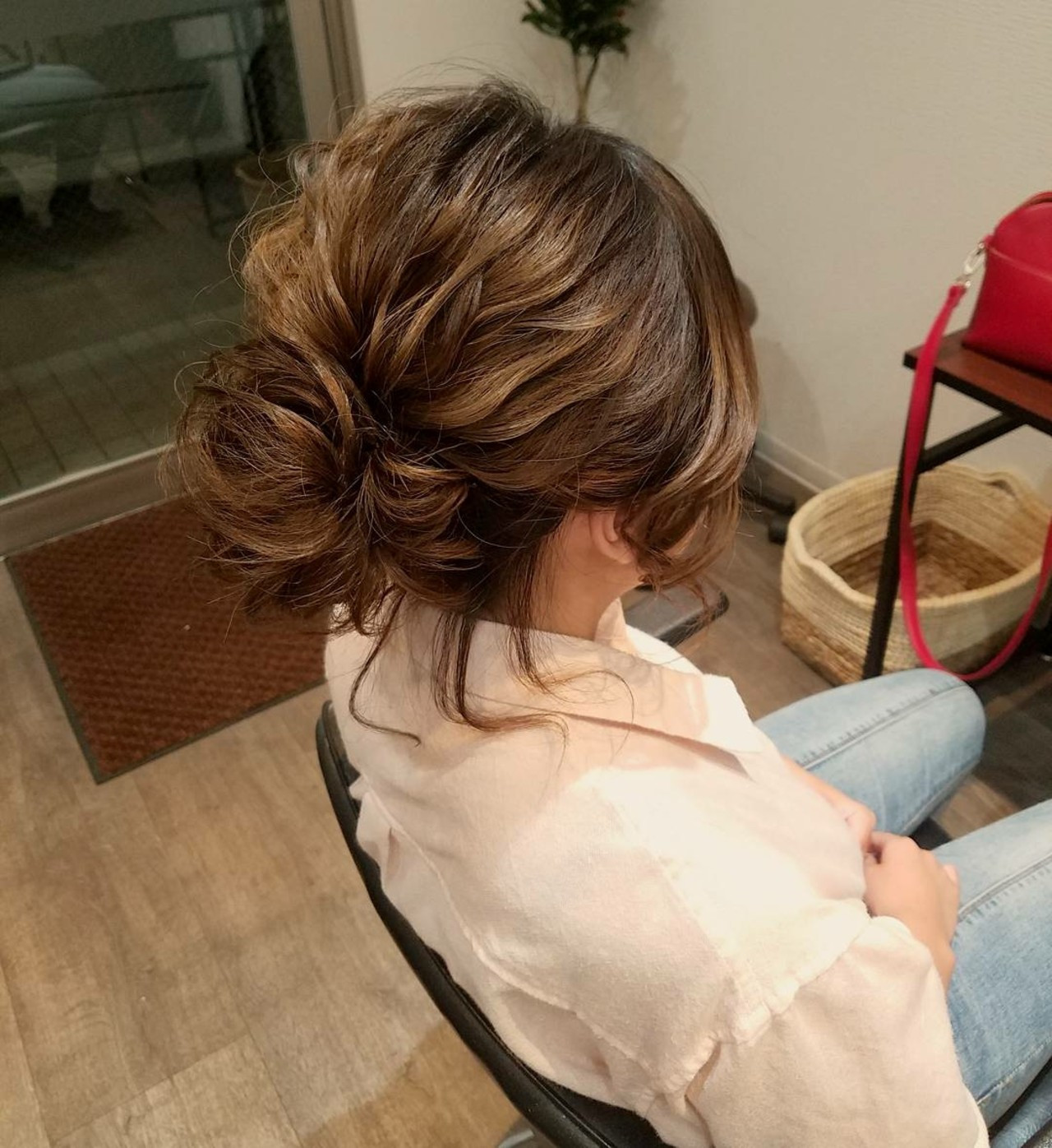 ナチュラル アップスタイル ヘアアレンジ ボブ ヘアスタイルや髪型の写真・画像