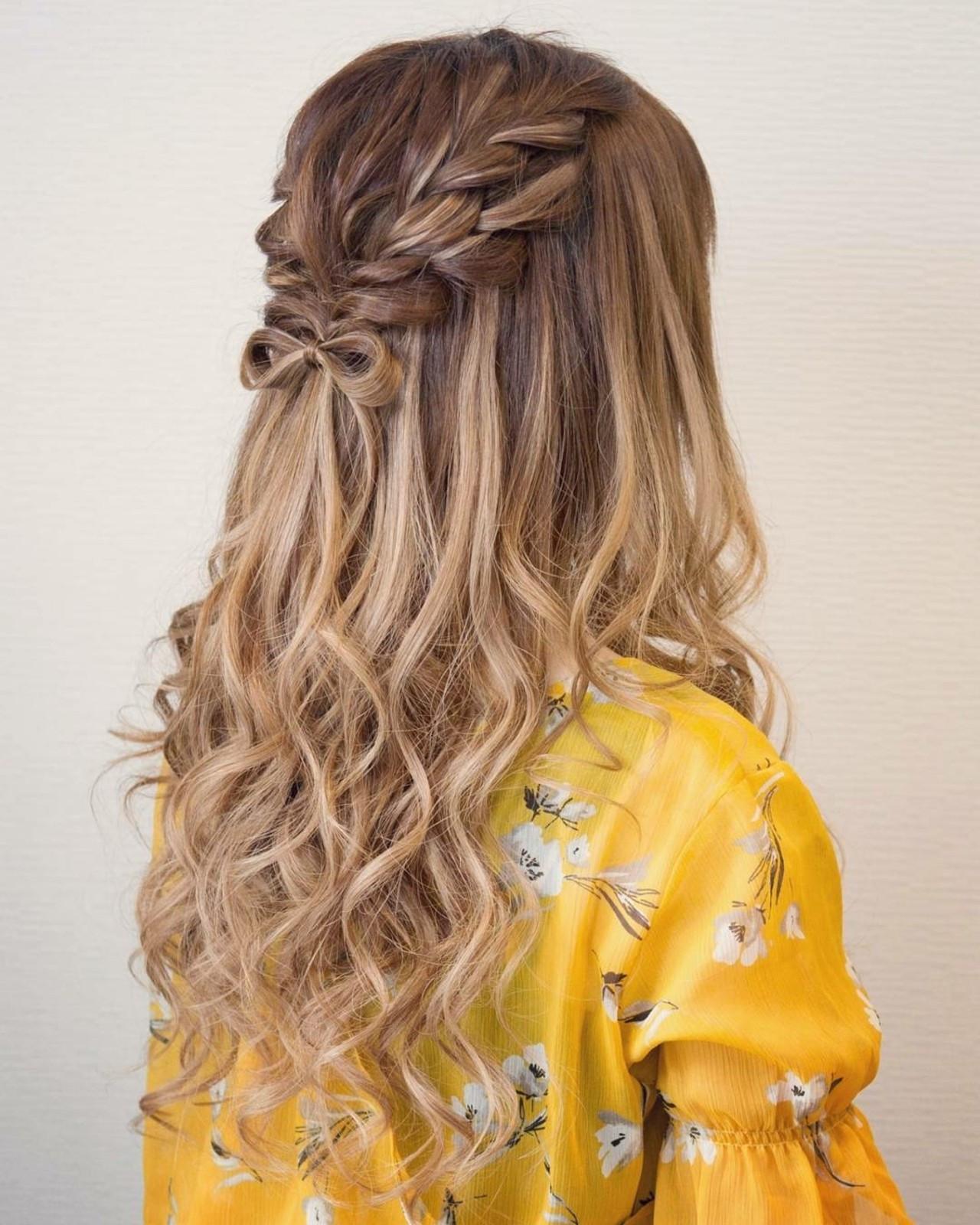 編み込み ハーフアップ ロング ガーリー ヘアスタイルや髪型の写真・画像