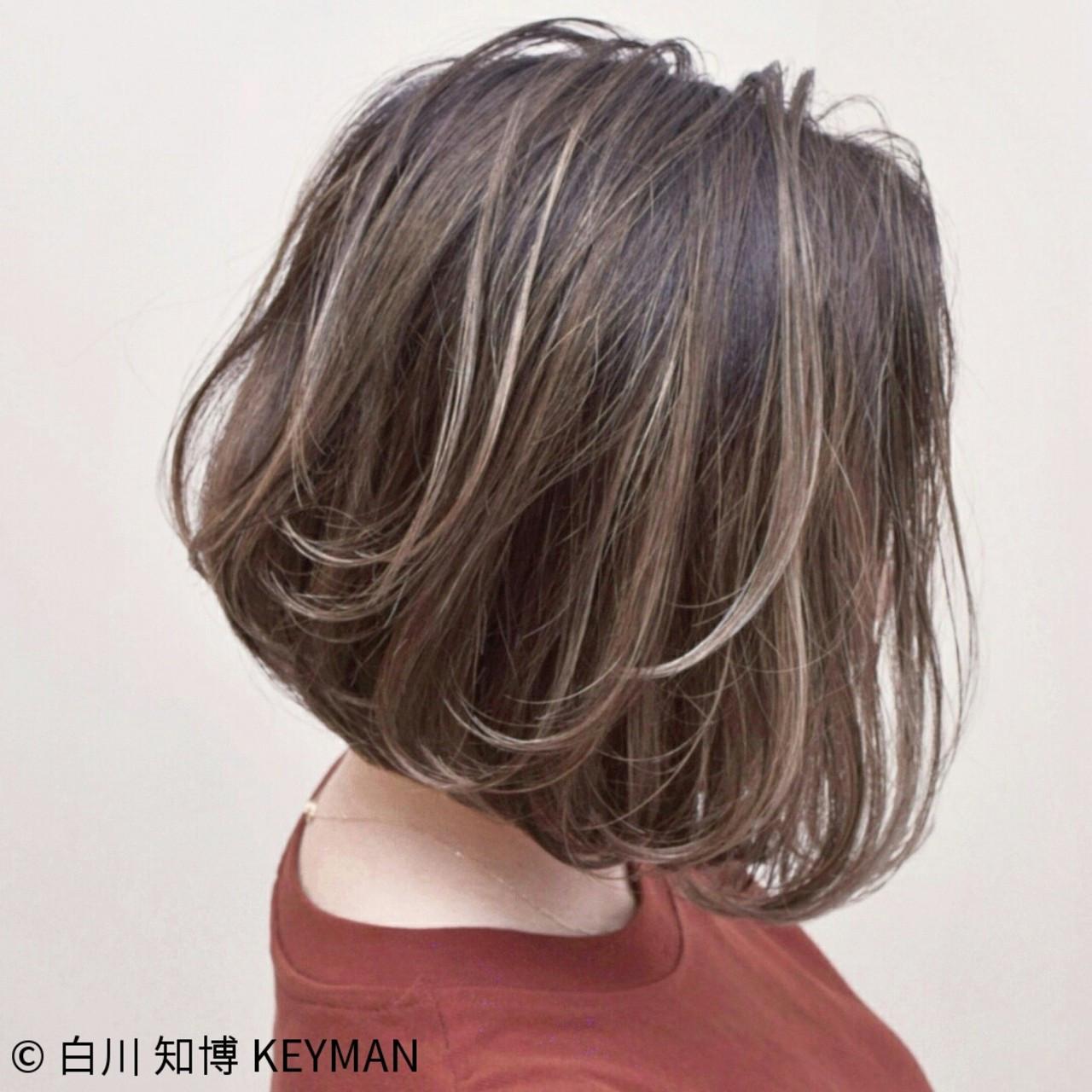ボブ バレイヤージュ 簡単ヘアアレンジ アンニュイ ヘアスタイルや髪型の写真・画像
