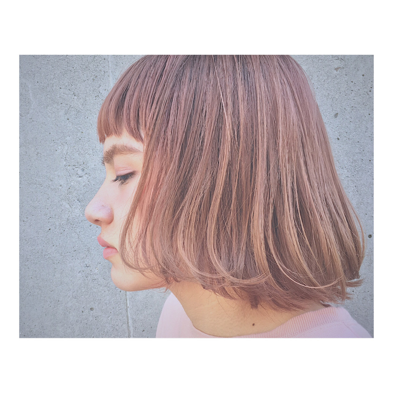 透明感 ストリート ピンク ボブ ヘアスタイルや髪型の写真・画像