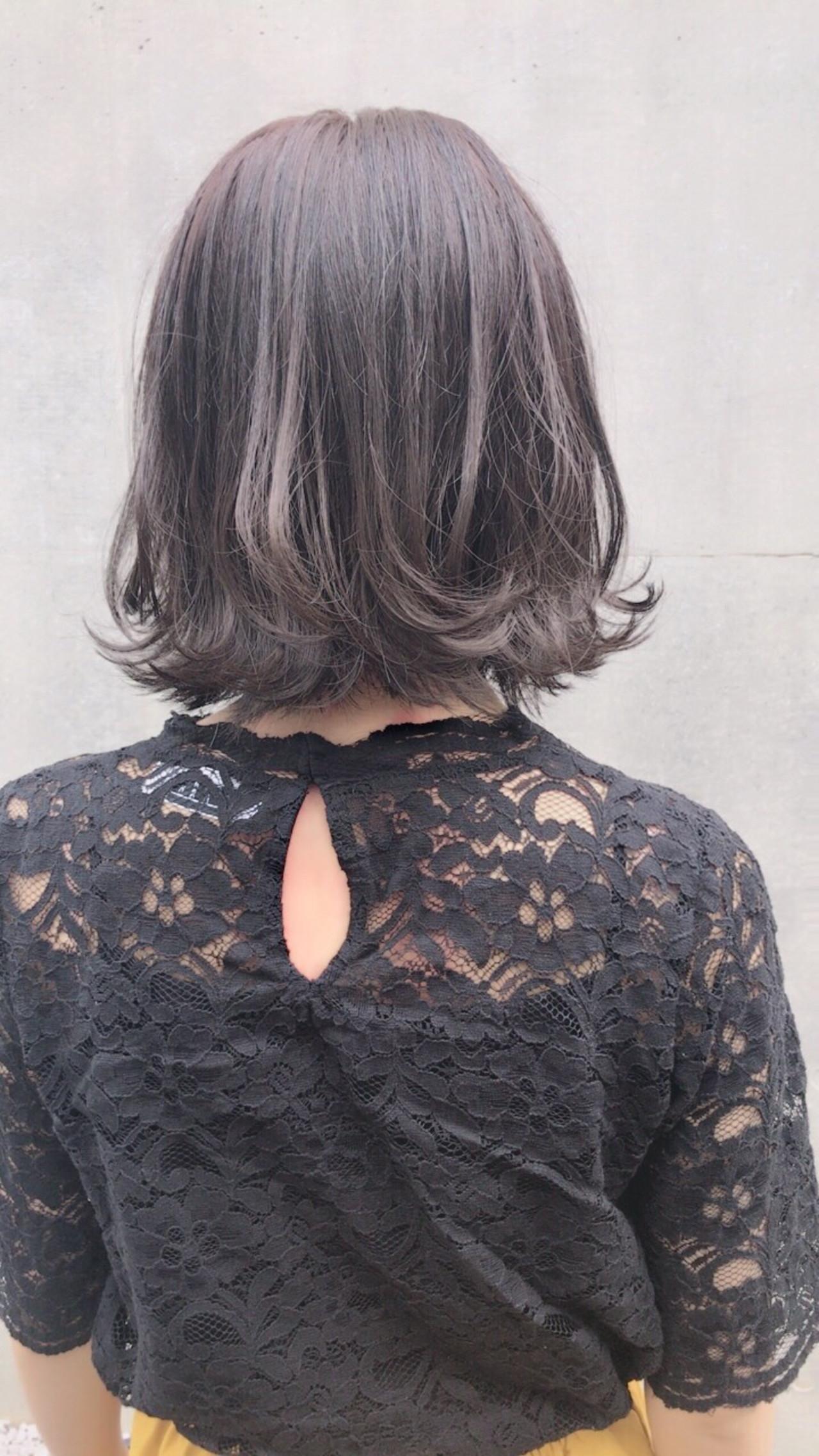 ボブ パープル 透明感 シルバーアッシュ ヘアスタイルや髪型の写真・画像