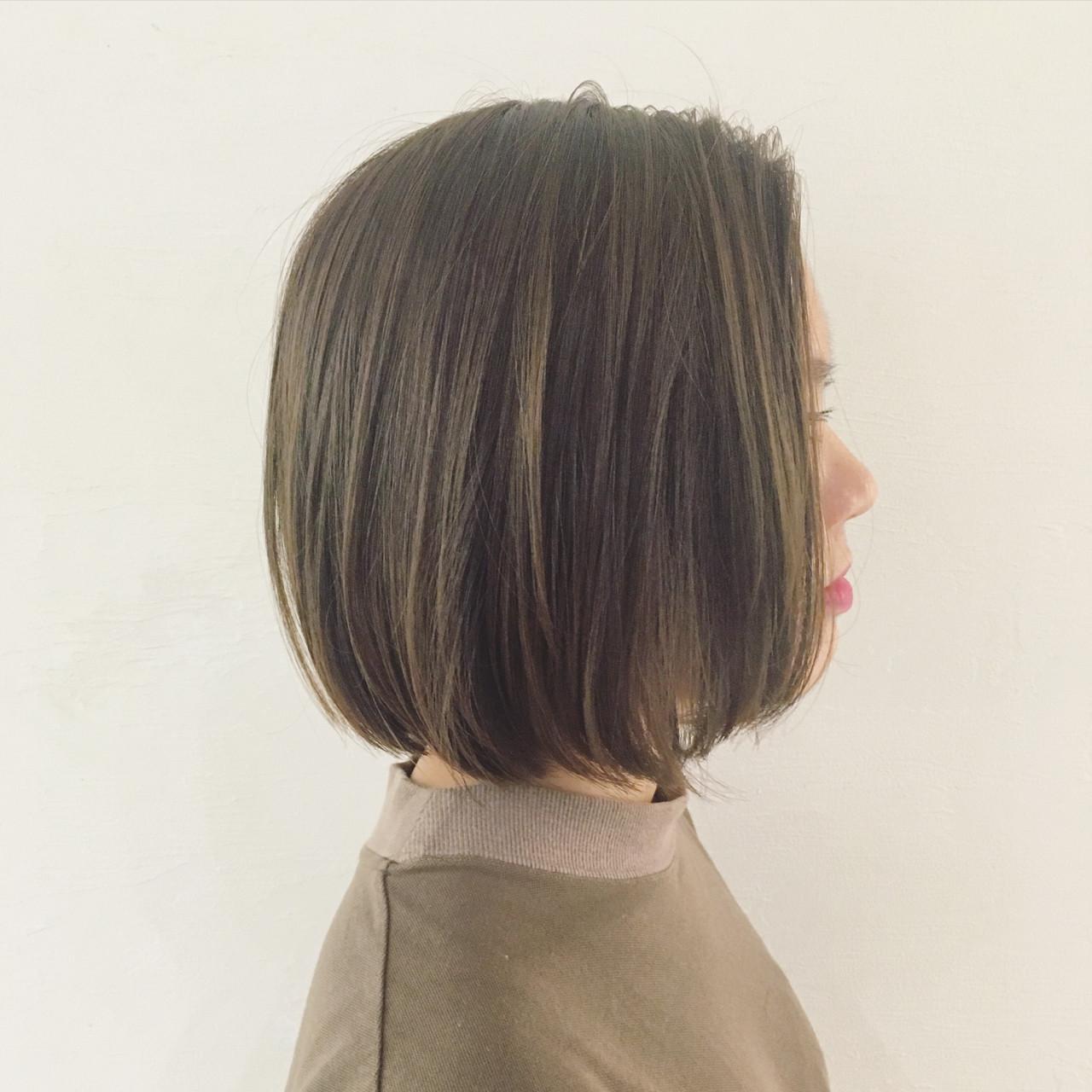 外国人風 透明感 イルミナカラー ブラントカット ヘアスタイルや髪型の写真・画像