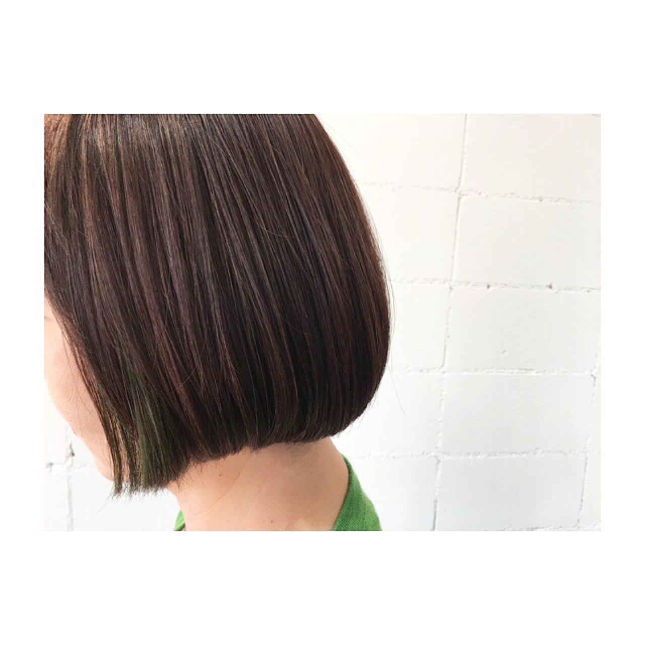 ボブ ナチュラル インナーカラー 大人女子 ヘアスタイルや髪型の写真・画像