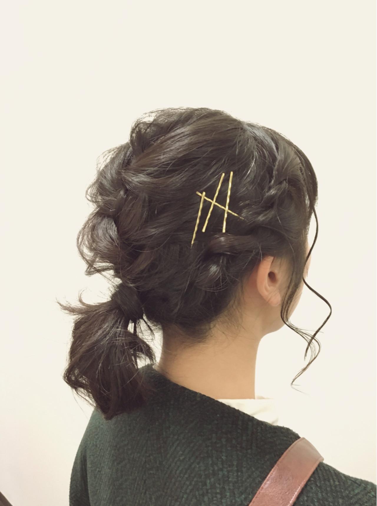 ヘアアクセ ショート ヘアピン 黒髪 ヘアスタイルや髪型の写真・画像