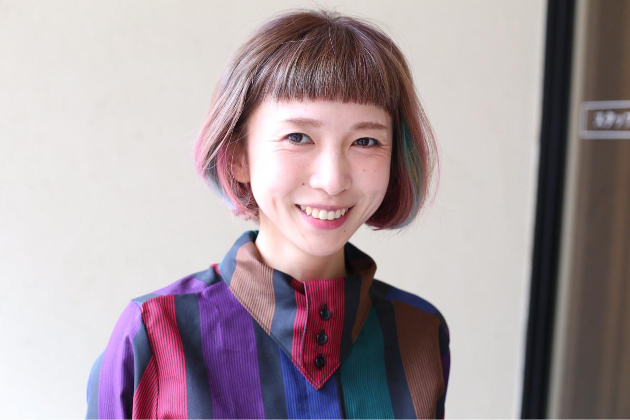 ガーリー ボブ ピンク インナーカラー ヘアスタイルや髪型の写真・画像