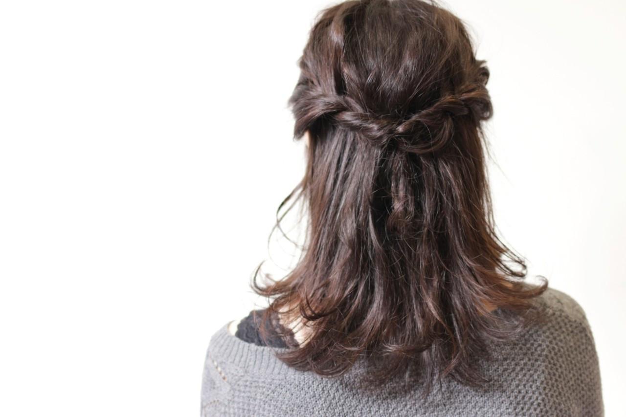 デート 簡単ヘアアレンジ ミディアム 編み込み ヘアスタイルや髪型の写真・画像
