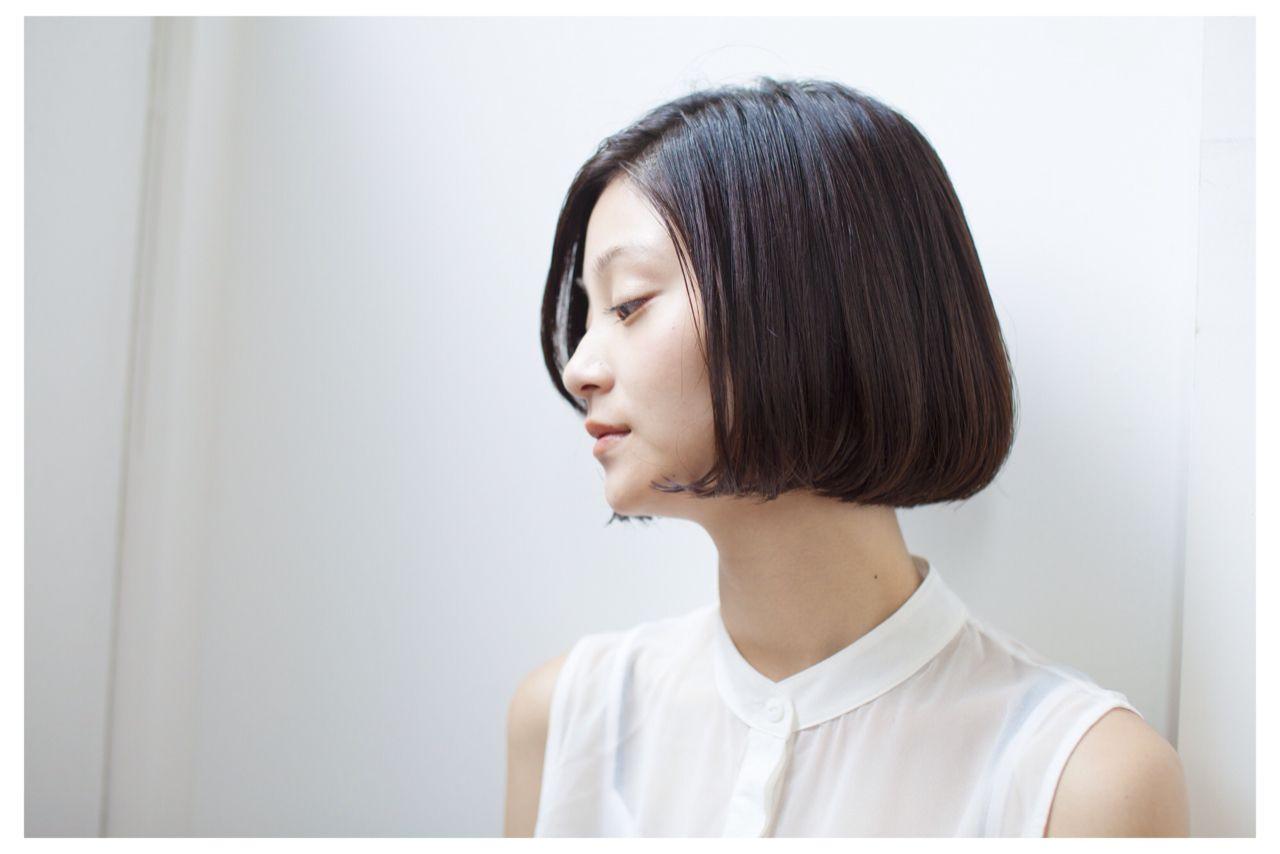 大人女子 ショート 大人かわいい 黒髪 ヘアスタイルや髪型の写真・画像