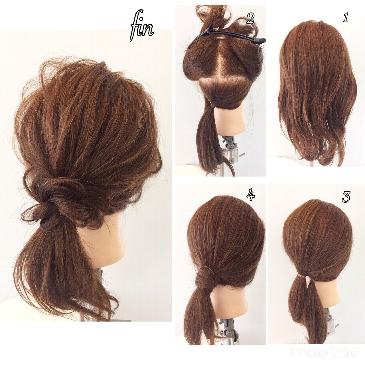 簡単ヘアアレンジ 大人女子 ショート ローポニーテール ヘアスタイルや髪型の写真・画像
