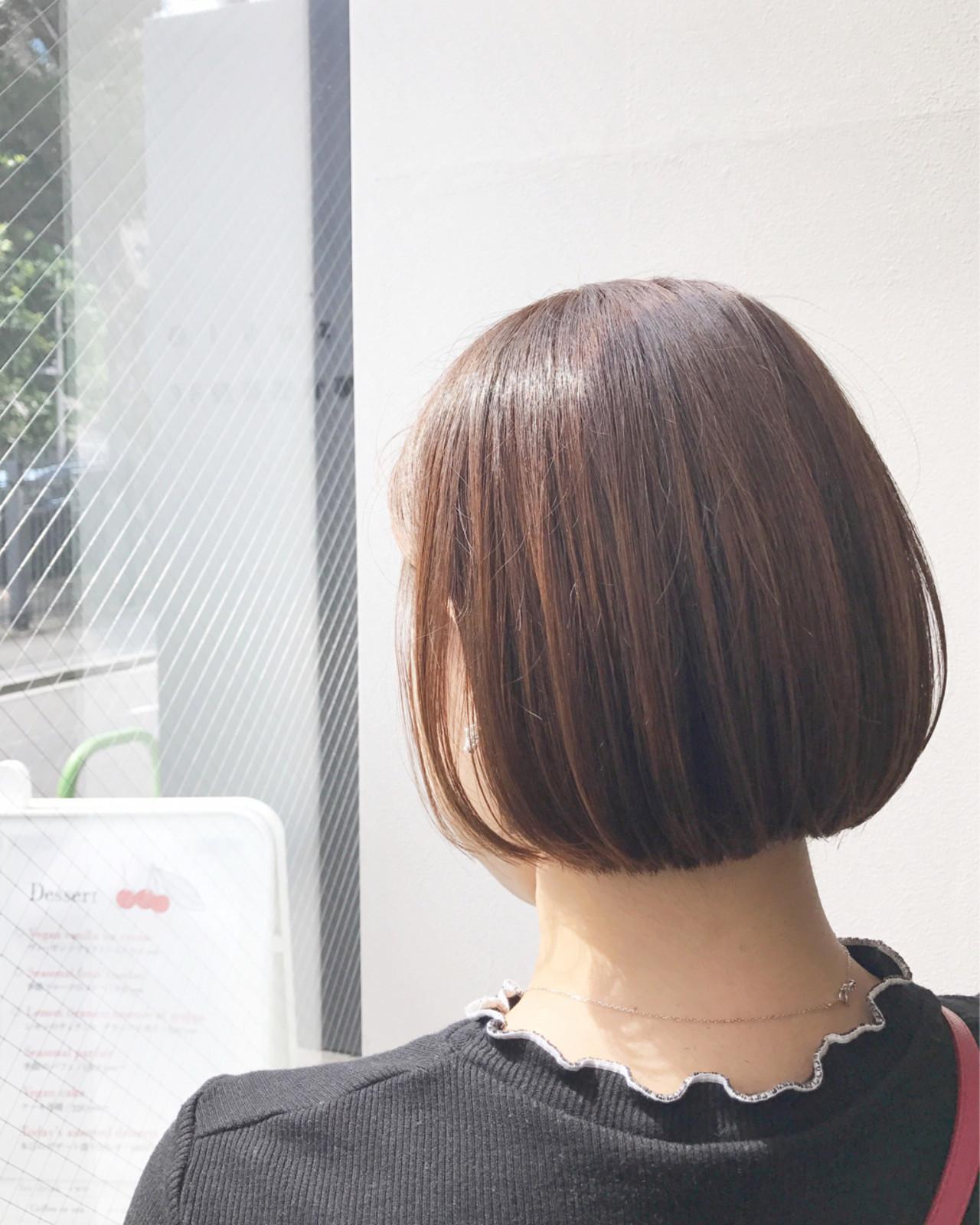 ヌーディーベージュ 透明感 ボブ ナチュラル ヘアスタイルや髪型の写真・画像