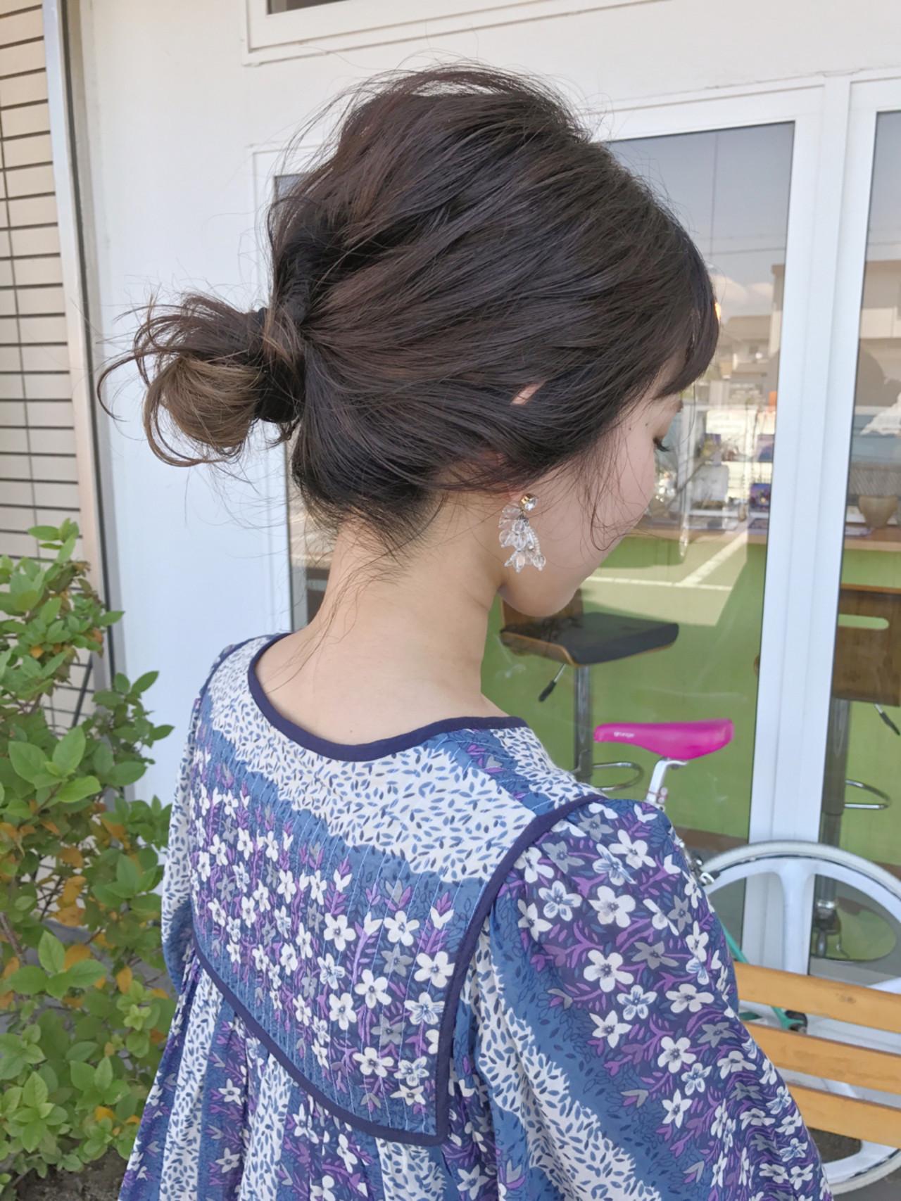 ナチュラル 簡単ヘアアレンジ ミディアム デート ヘアスタイルや髪型の写真・画像