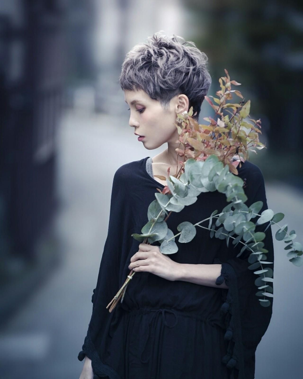 ショート ベリーショート 透明感 ストリート ヘアスタイルや髪型の写真・画像