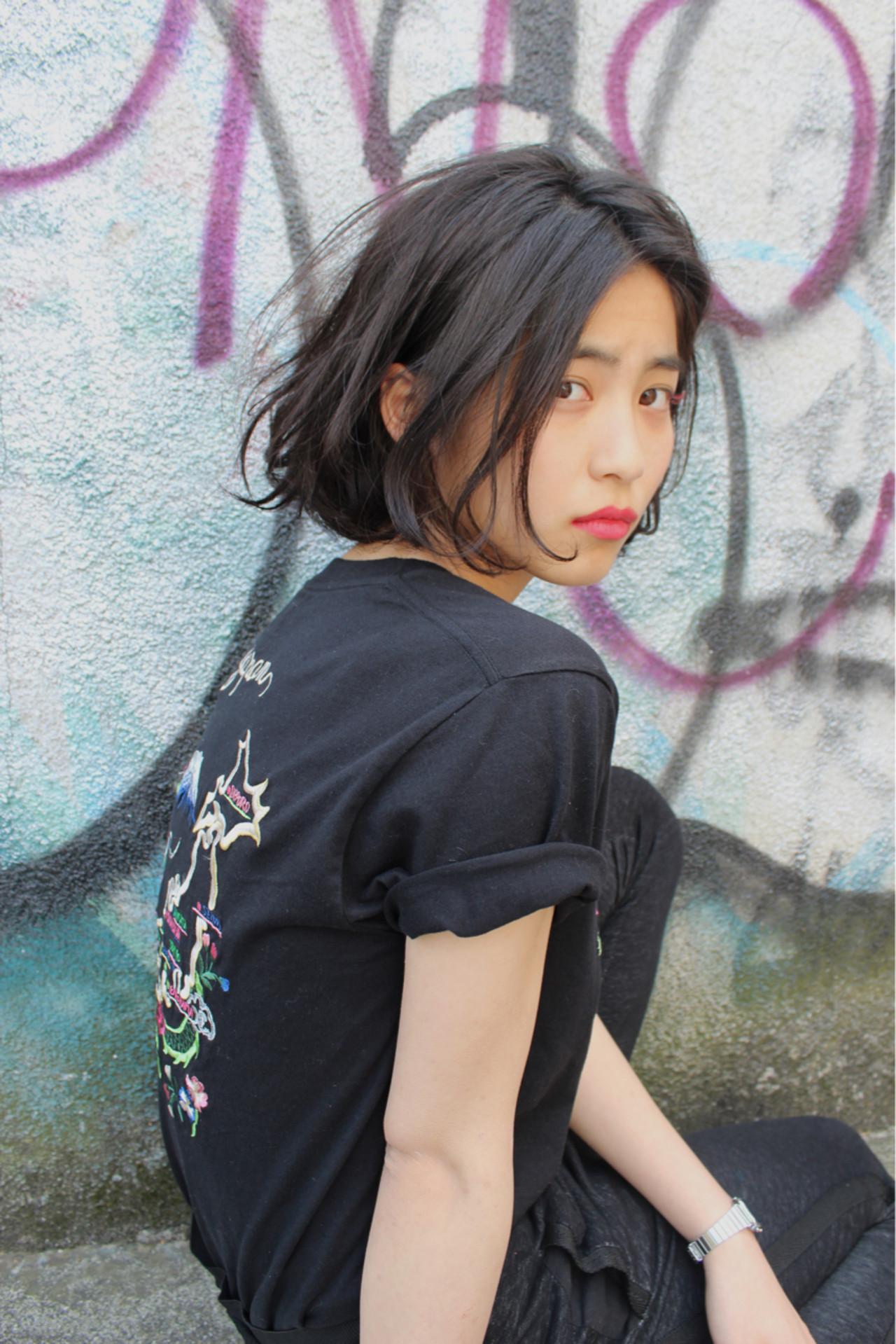 黒髪 ストリート ボブ 切りっぱなし ヘアスタイルや髪型の写真・画像
