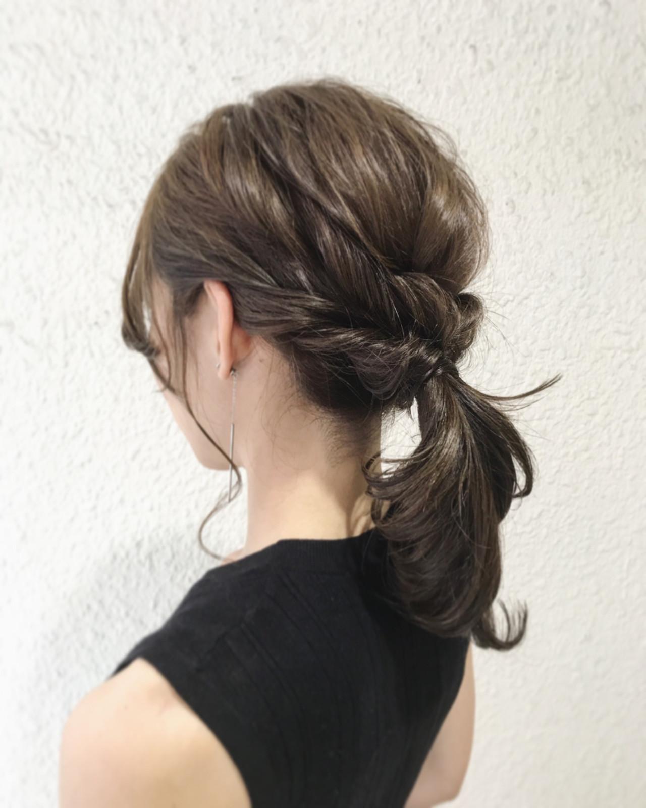 簡単ヘアアレンジ セミロング ナチュラル デート ヘアスタイルや髪型の写真・画像
