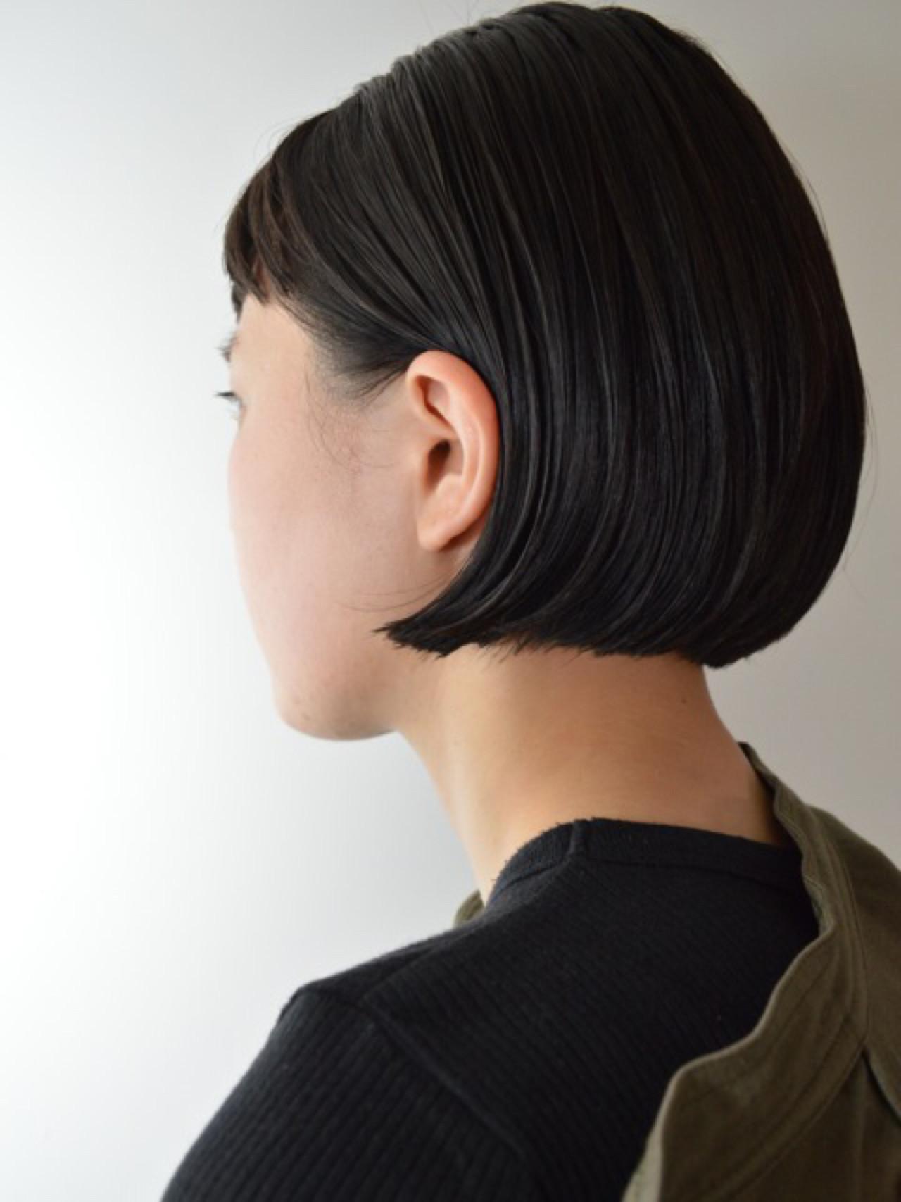 ニュアンス ボブ 切りっぱなし 秋 ヘアスタイルや髪型の写真・画像