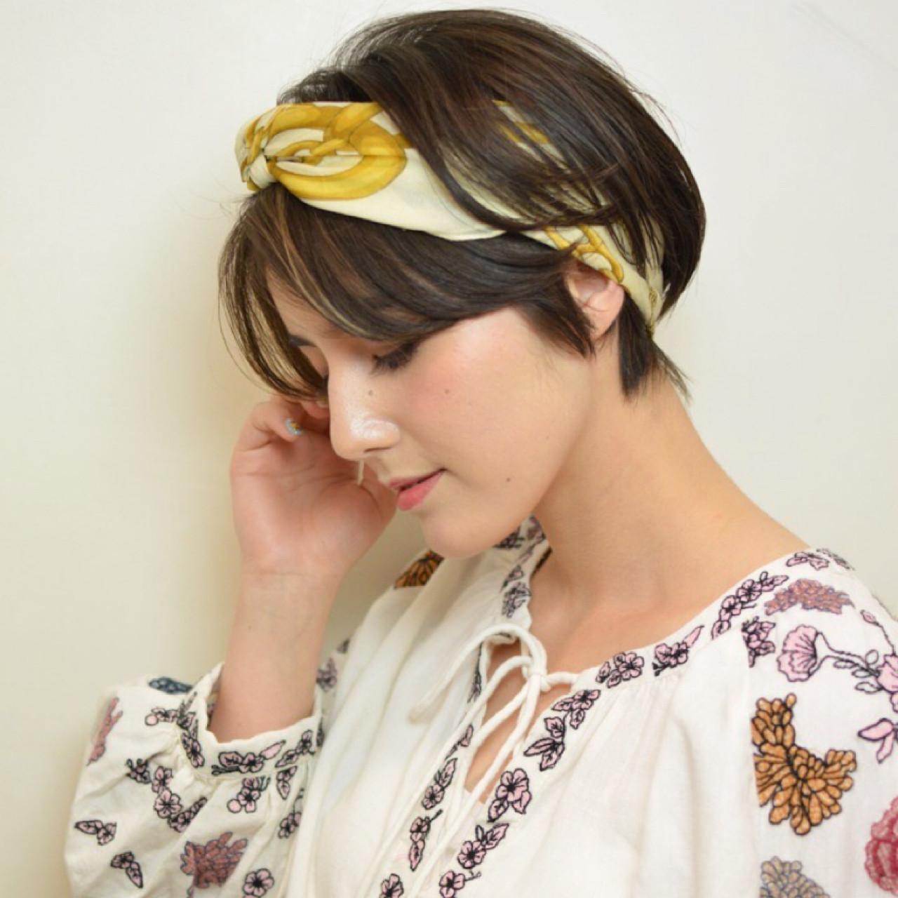 ヘアアレンジ ショート ヘアアクセ 簡単ヘアアレンジ ヘアスタイルや髪型の写真・画像