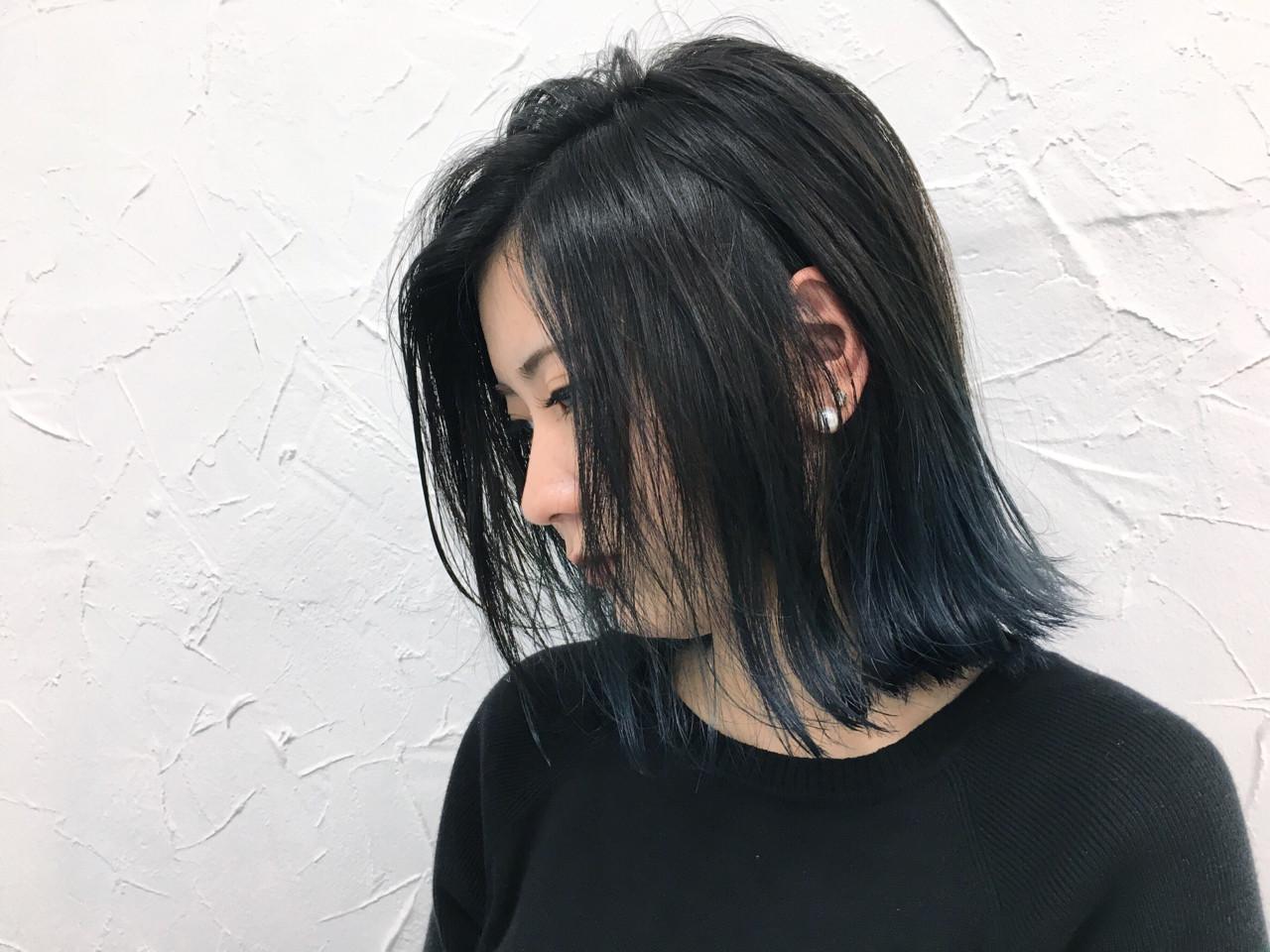 デート ネイビー ブルー ボブ ヘアスタイルや髪型の写真・画像