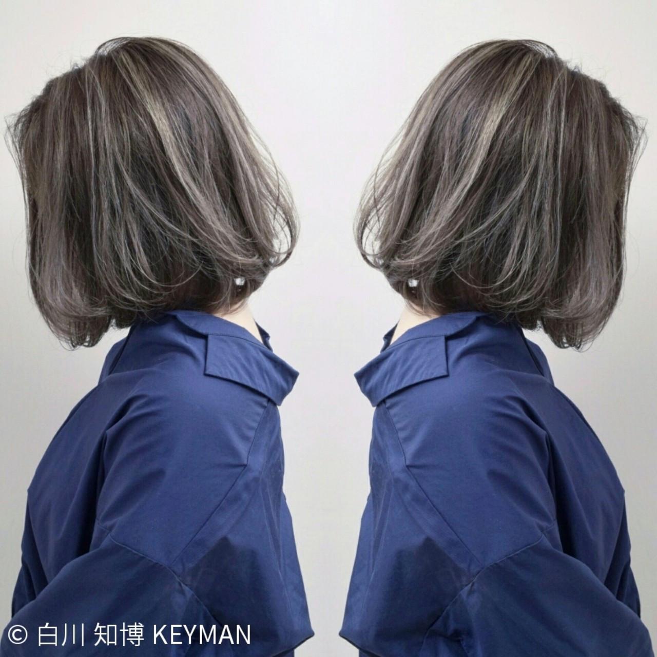 バレイヤージュ ボブ ストリート ウェーブ ヘアスタイルや髪型の写真・画像