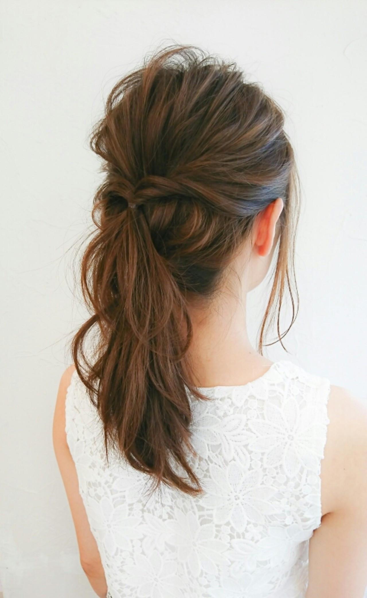 フェミニン ヘアアレンジ セミロング 結婚式 ヘアスタイルや髪型の写真・画像