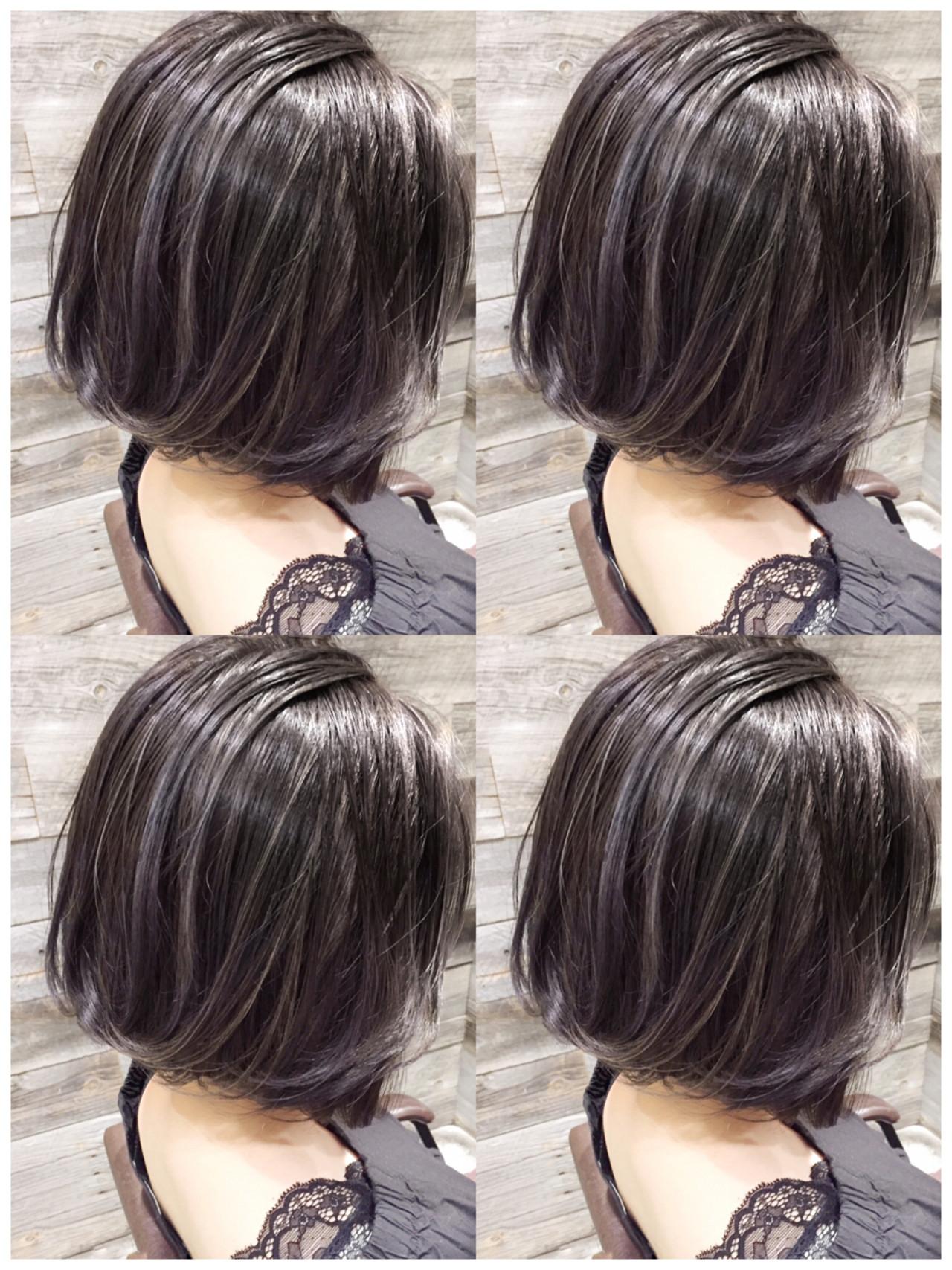 外国人風 ブルージュ ハイライト ボブ ヘアスタイルや髪型の写真・画像