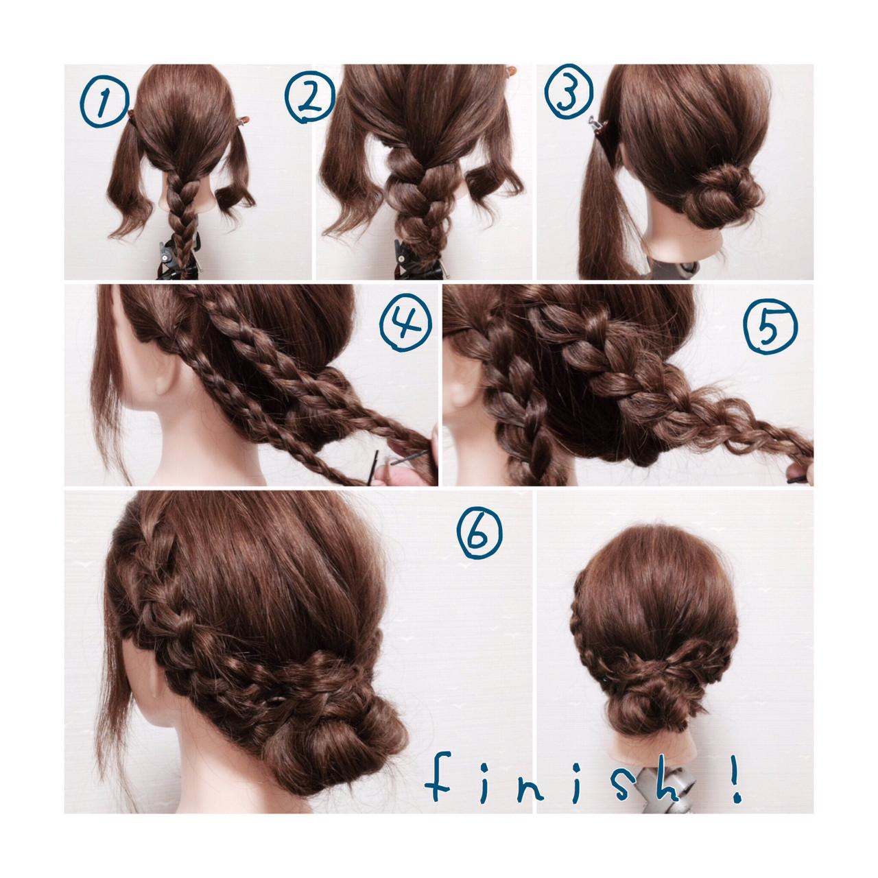 ショート お団子 ヘアアレンジ 三つ編み ヘアスタイルや髪型の写真・画像