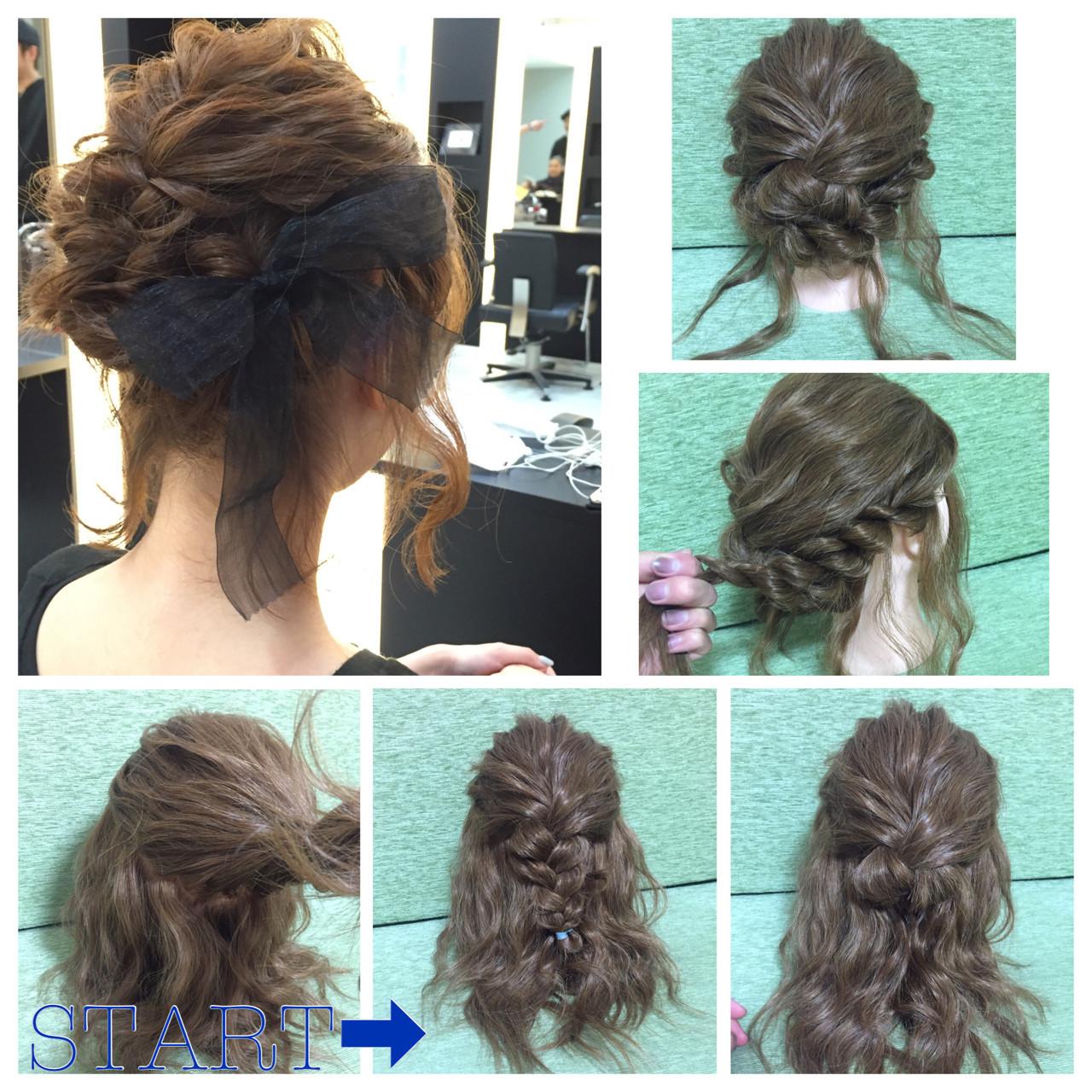 ガーリー 三つ編み ヘアアレンジ 編み込み ヘアスタイルや髪型の写真・画像