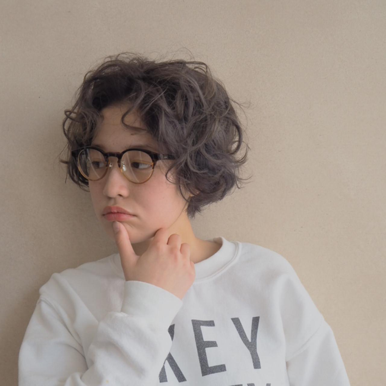 くせ毛風 ナチュラル ショート パーマ ヘアスタイルや髪型の写真・画像