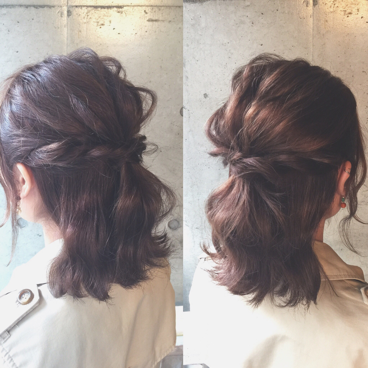 結婚式 ナチュラル 簡単ヘアアレンジ ミディアム ヘアスタイルや髪型の写真・画像